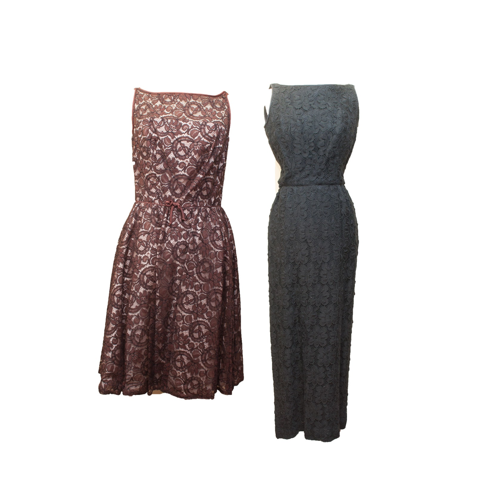 Pair of 1950s Vintage Lace Sleeveless Evening and Cocktail Dresses