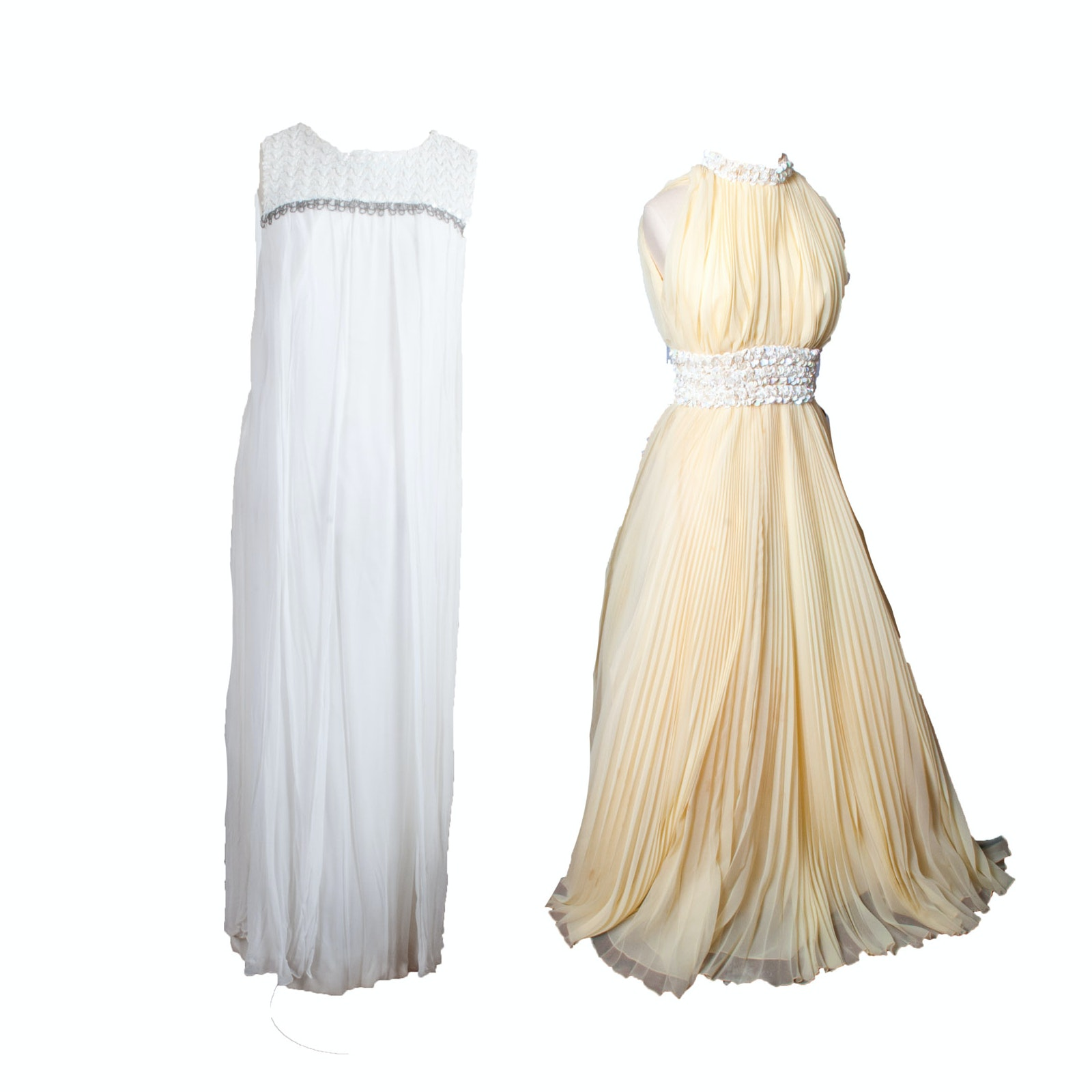 Pair of 1960s Vintage Sleeveless Evening Gowns Including Lillie Rubin