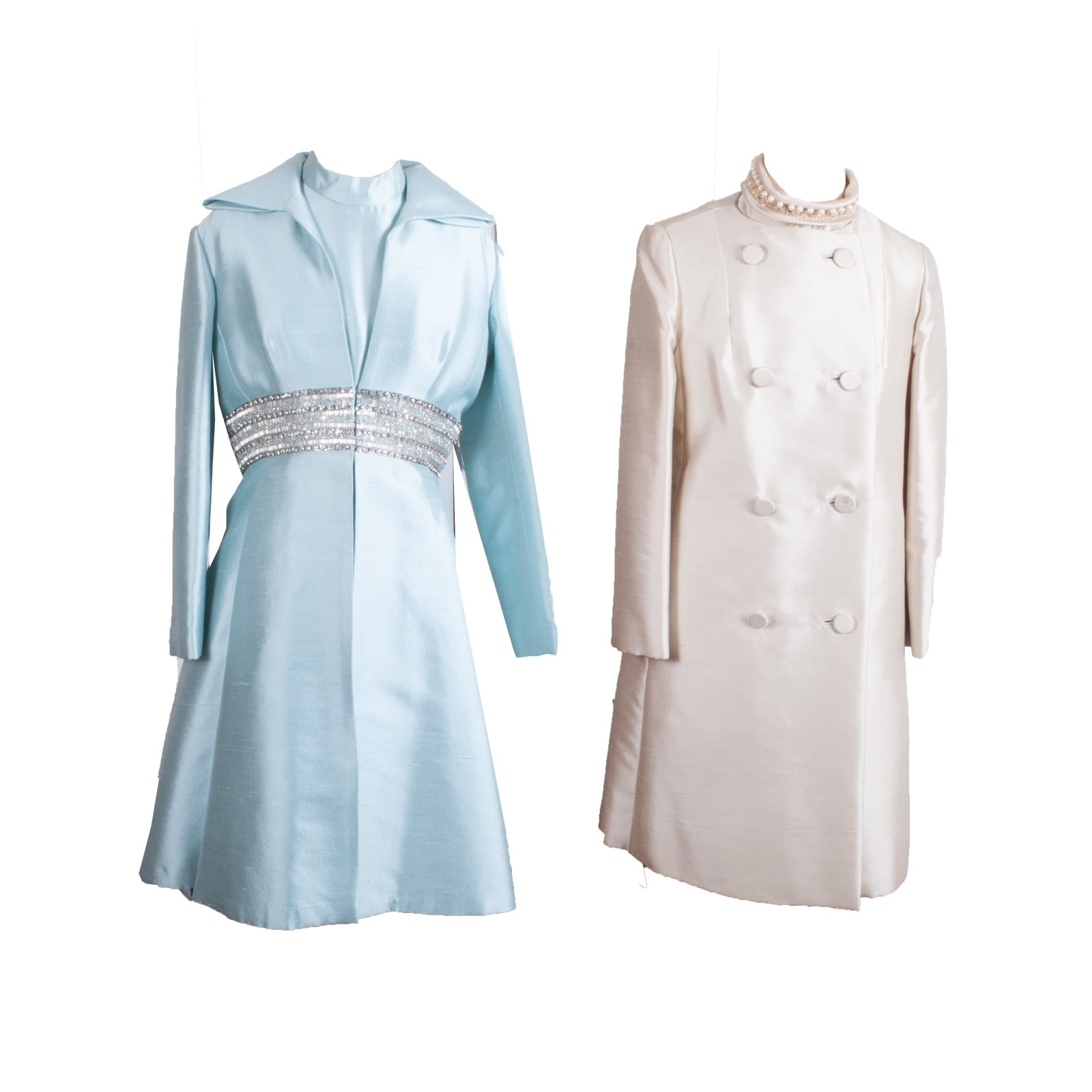 Pair of 1960s Vintage Raw Silk Coat and Sheath Dresses