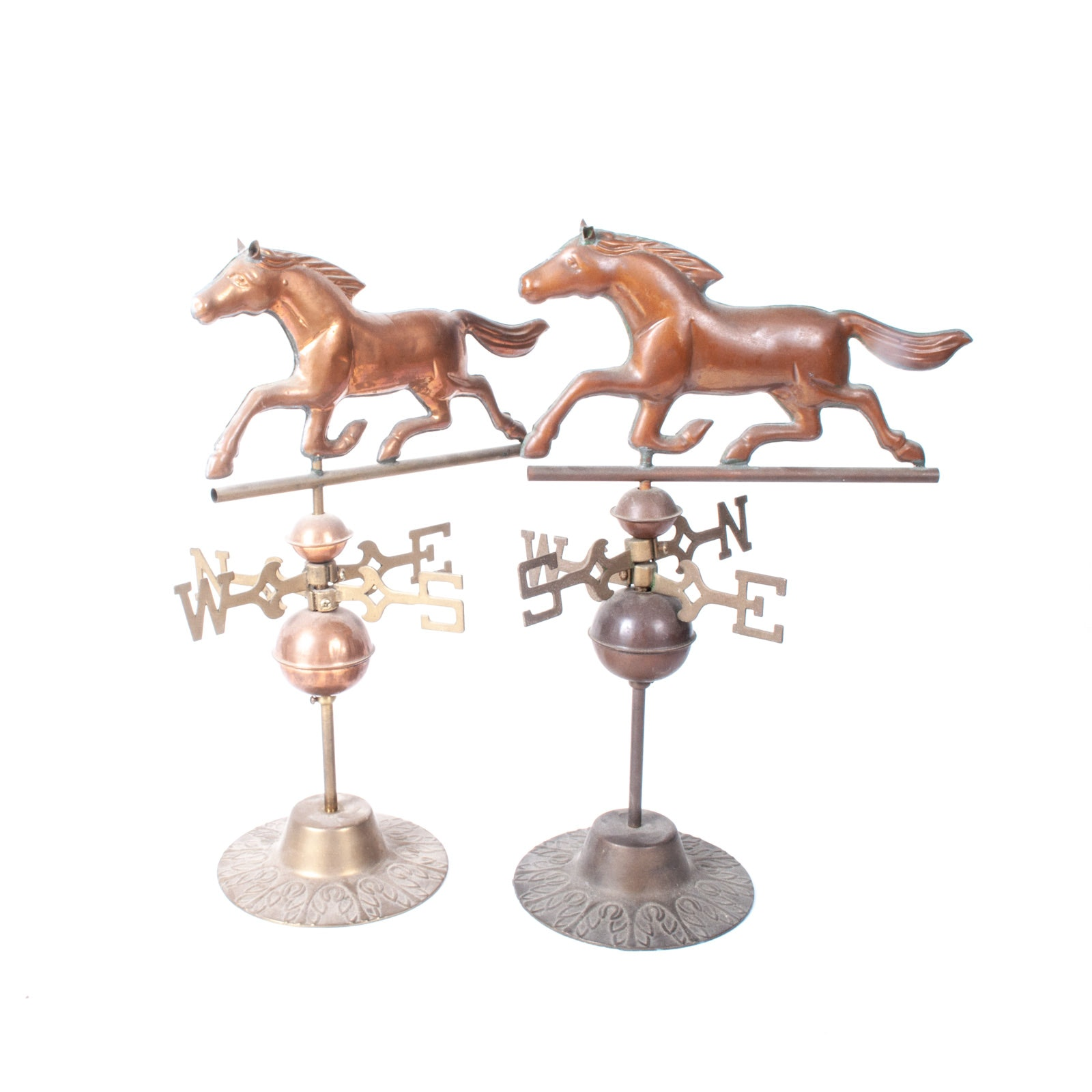 Pair of Vintage Brass and Copper Horse Weathervanes