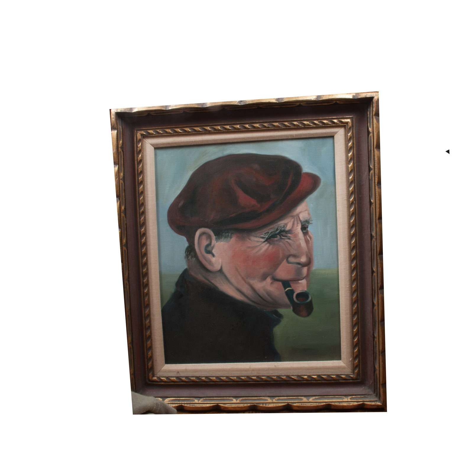 Oil Painting on Canvas of Old Man with Pipe