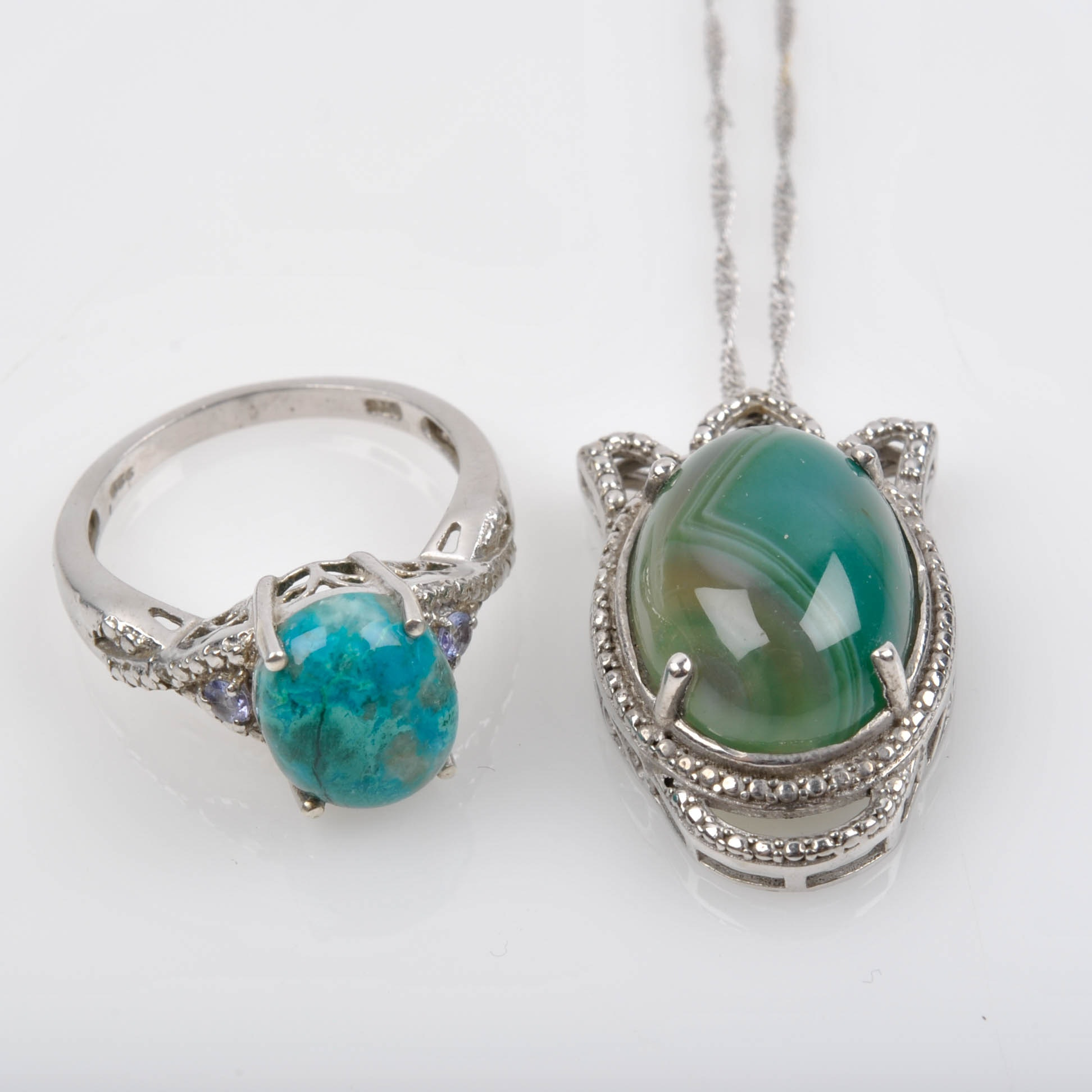 Sterling Silver Eilat Stone Ring and 10K White Gold Chain with Agate Pendant