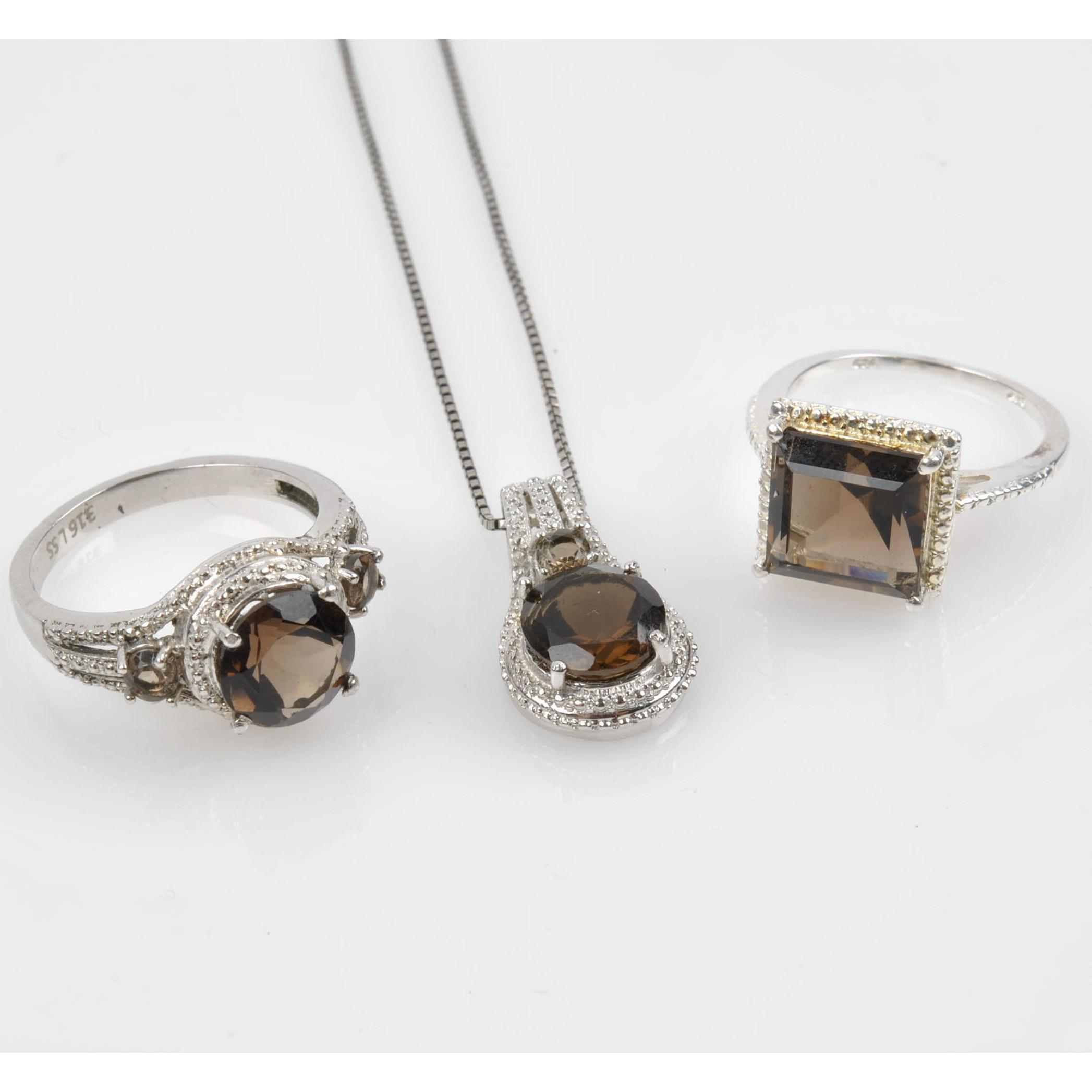 Sterling Silver Smoky Quartz Jewelry Ebth