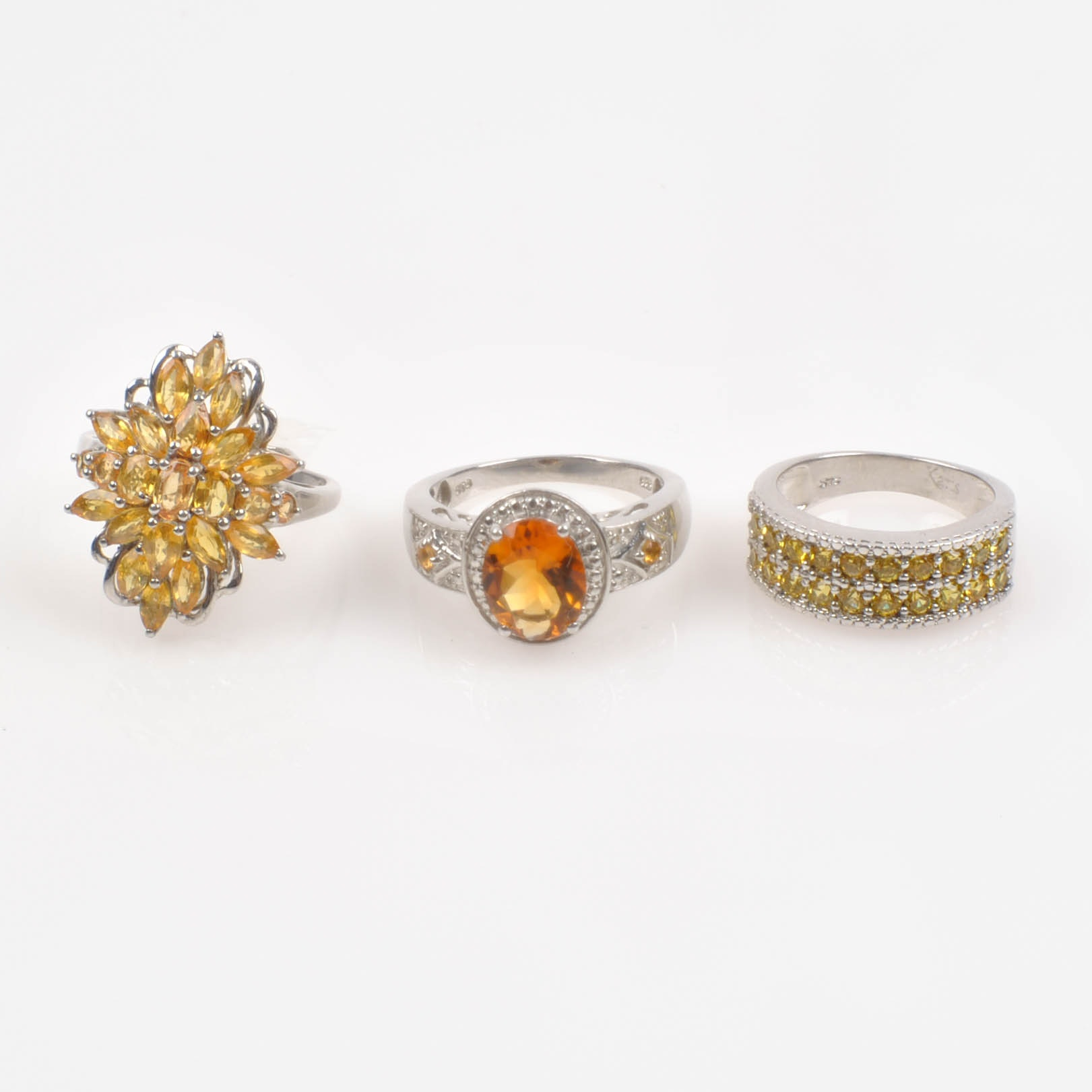 Sterling Silver Citrine, Synthetic Spinel, and Crystal Rings