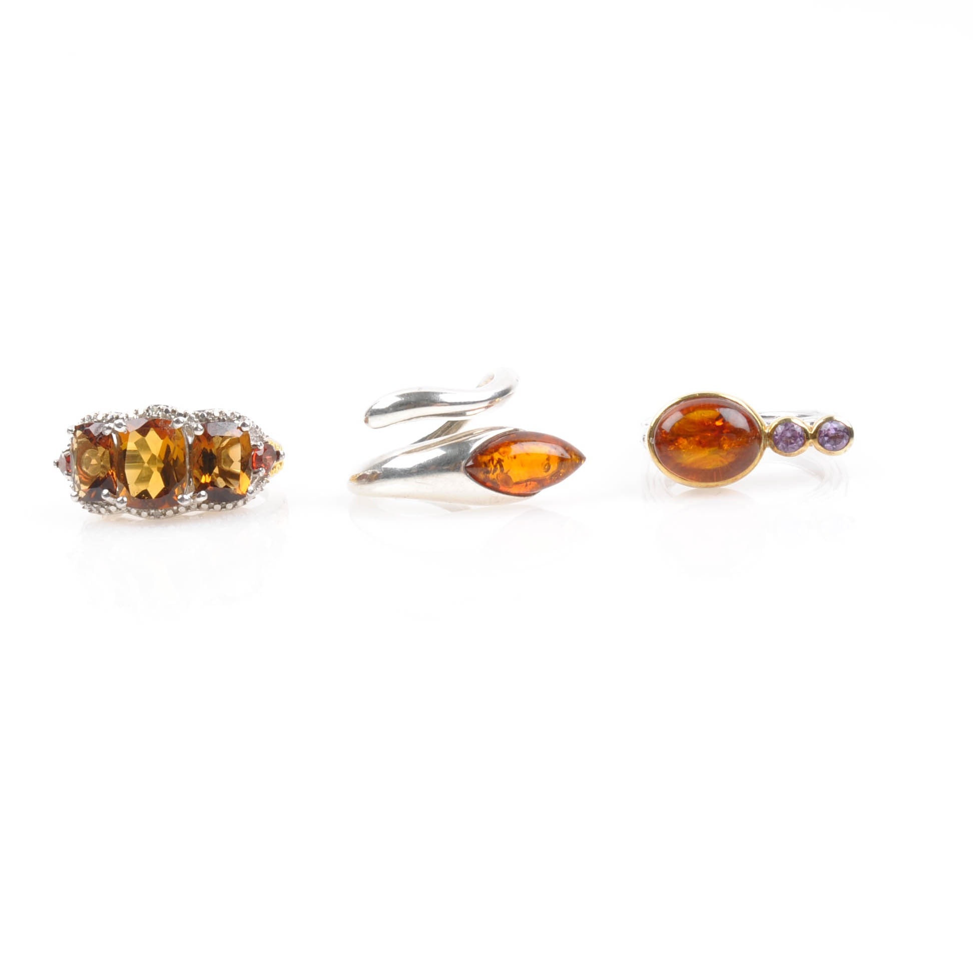 Sterling Silver Amber, Tanzanite, and Glass Rings