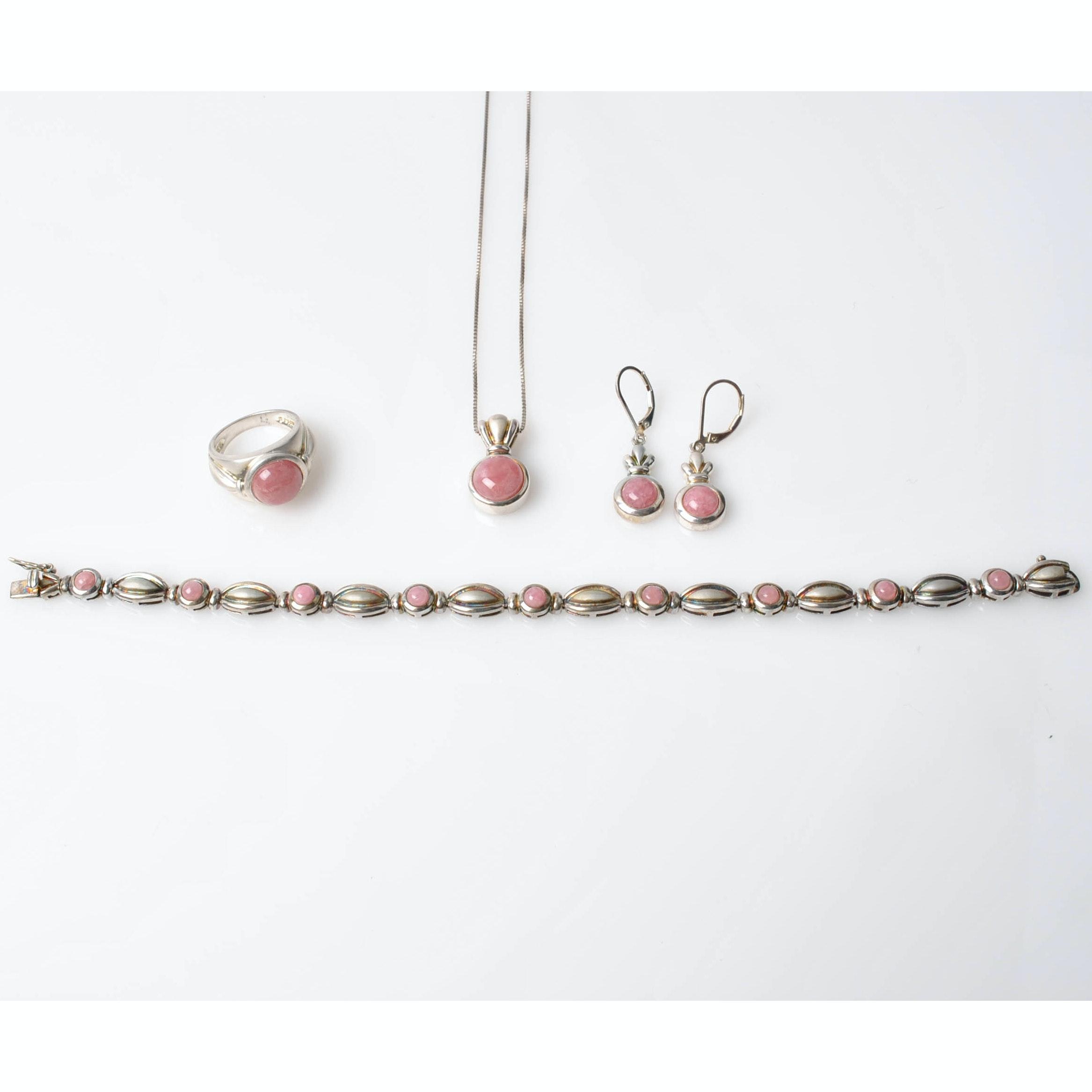 Sterling Silver Rose Quartz Jewelry Set