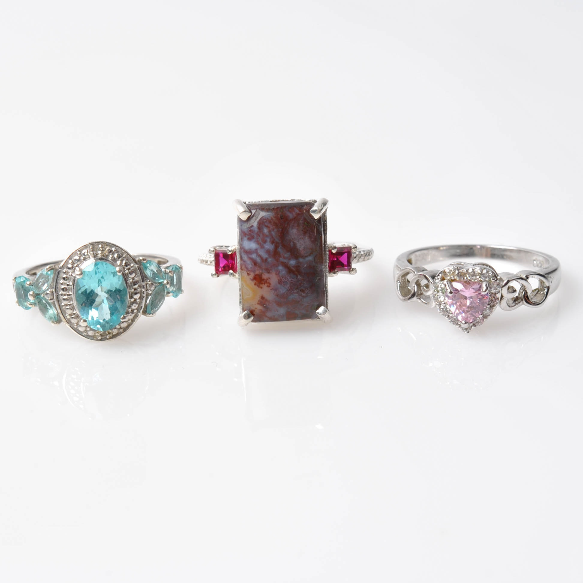 Sterling Silver Agate, Crystal, and Glass Rings