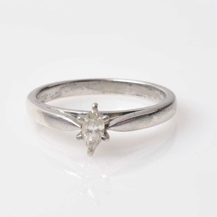 Platinaire Solitaire Marquise Diamond Ring