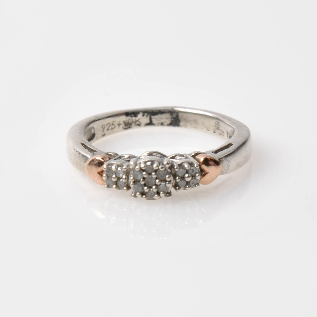 Sterling Silver 10K Rose Gold Accented Diamond Ring