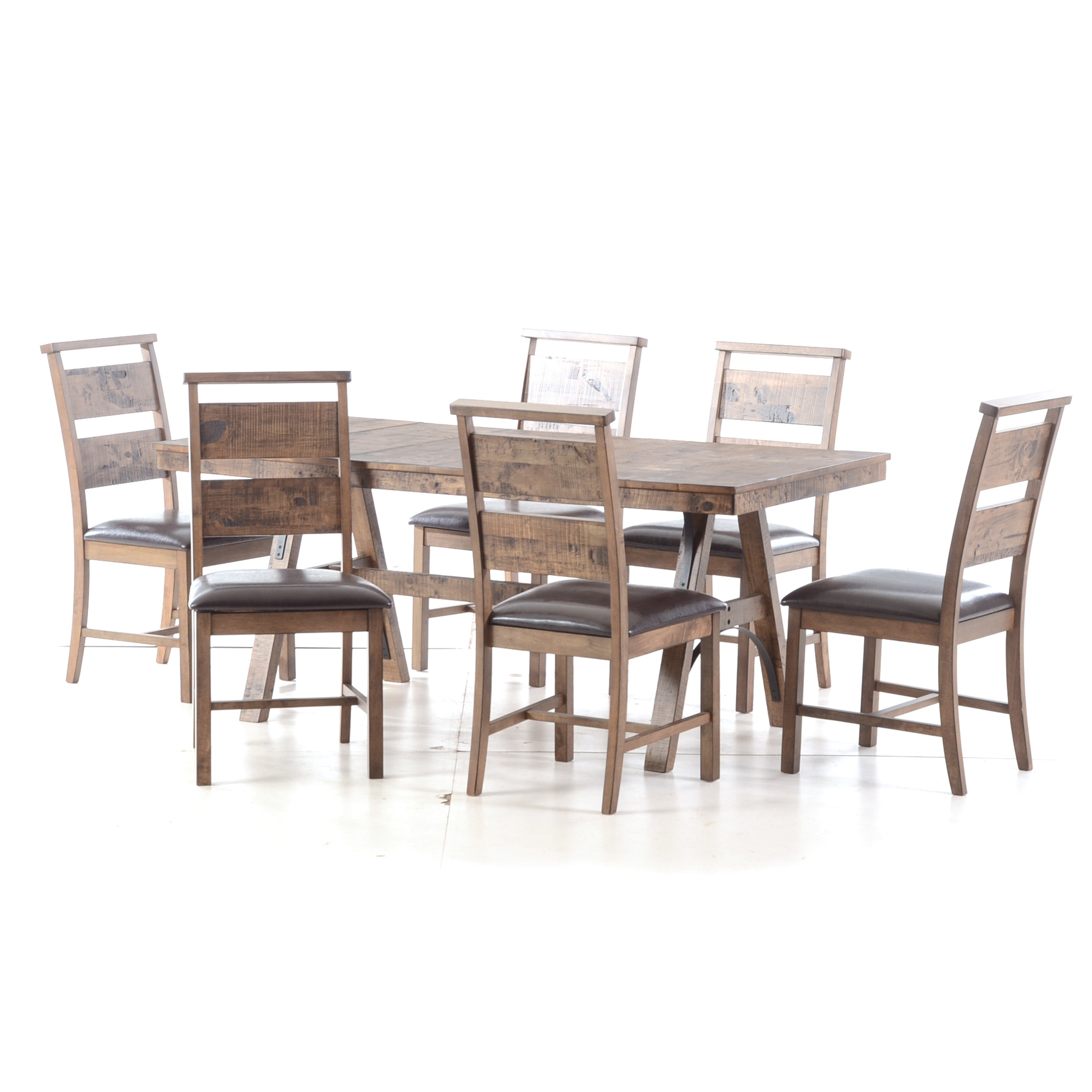 Contemporary Trestle Dining Table and Six Chairs