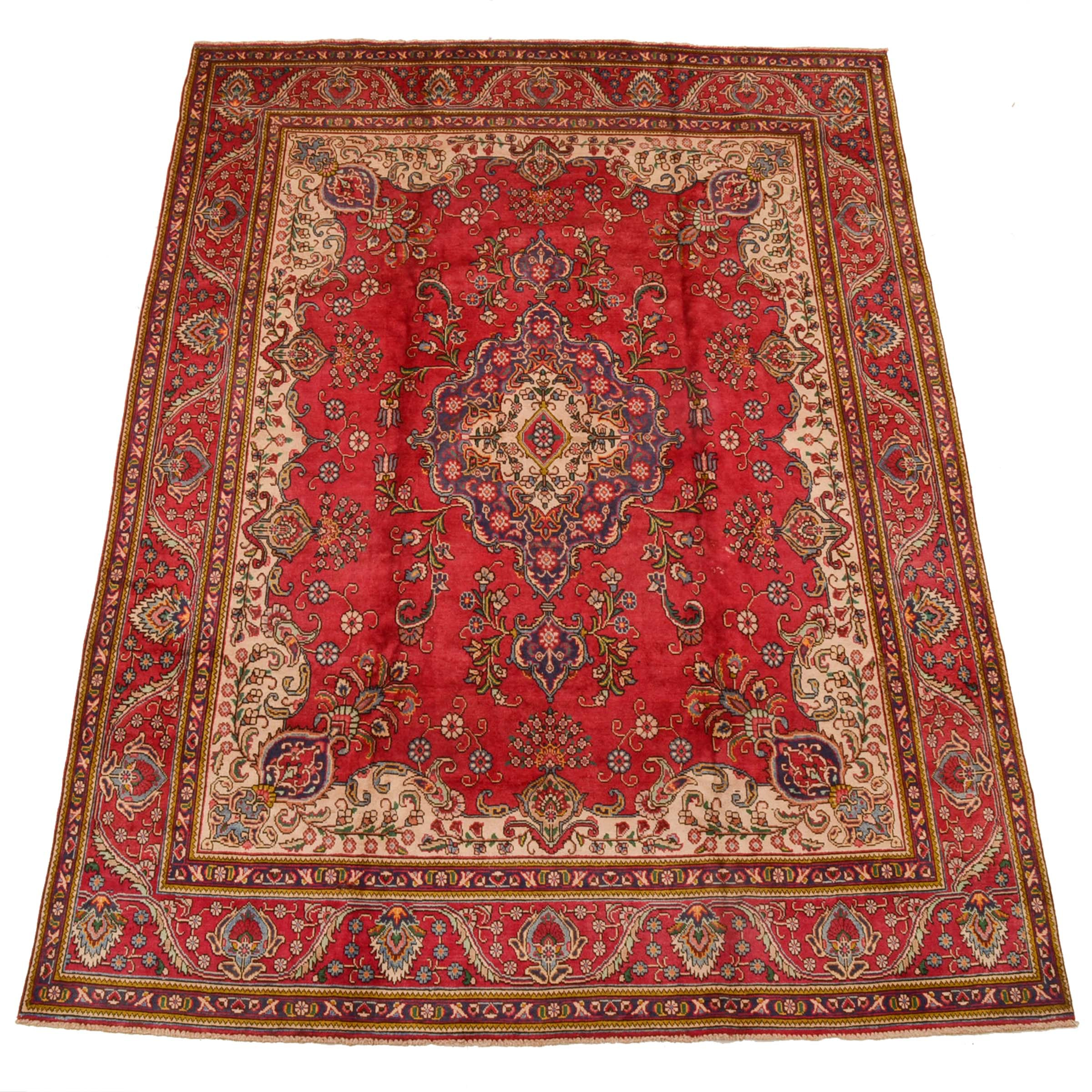 Hand-Knotted Persian Tabriz Room Size Rug