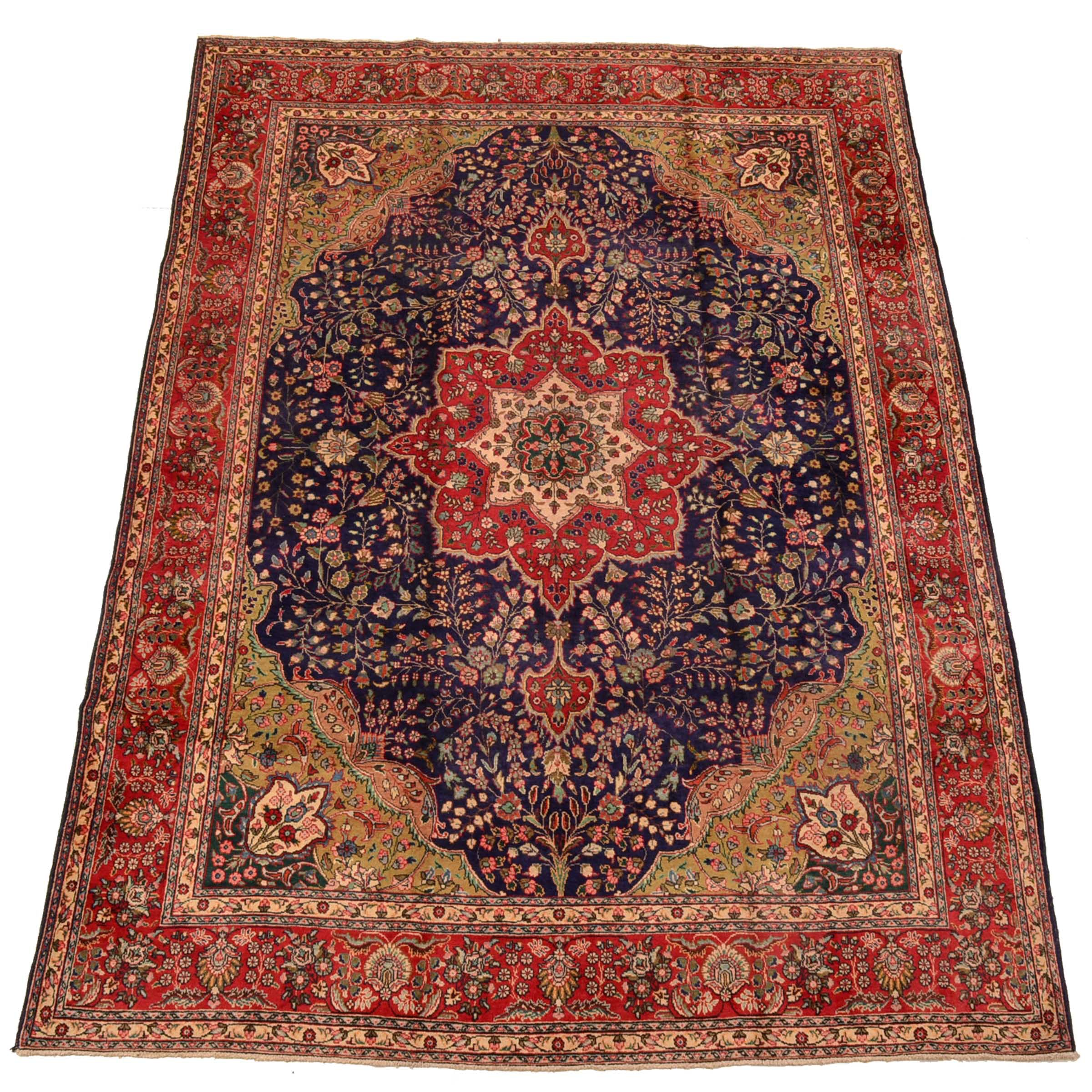 Hand-Knotted Persian Qum Room-Size Rug