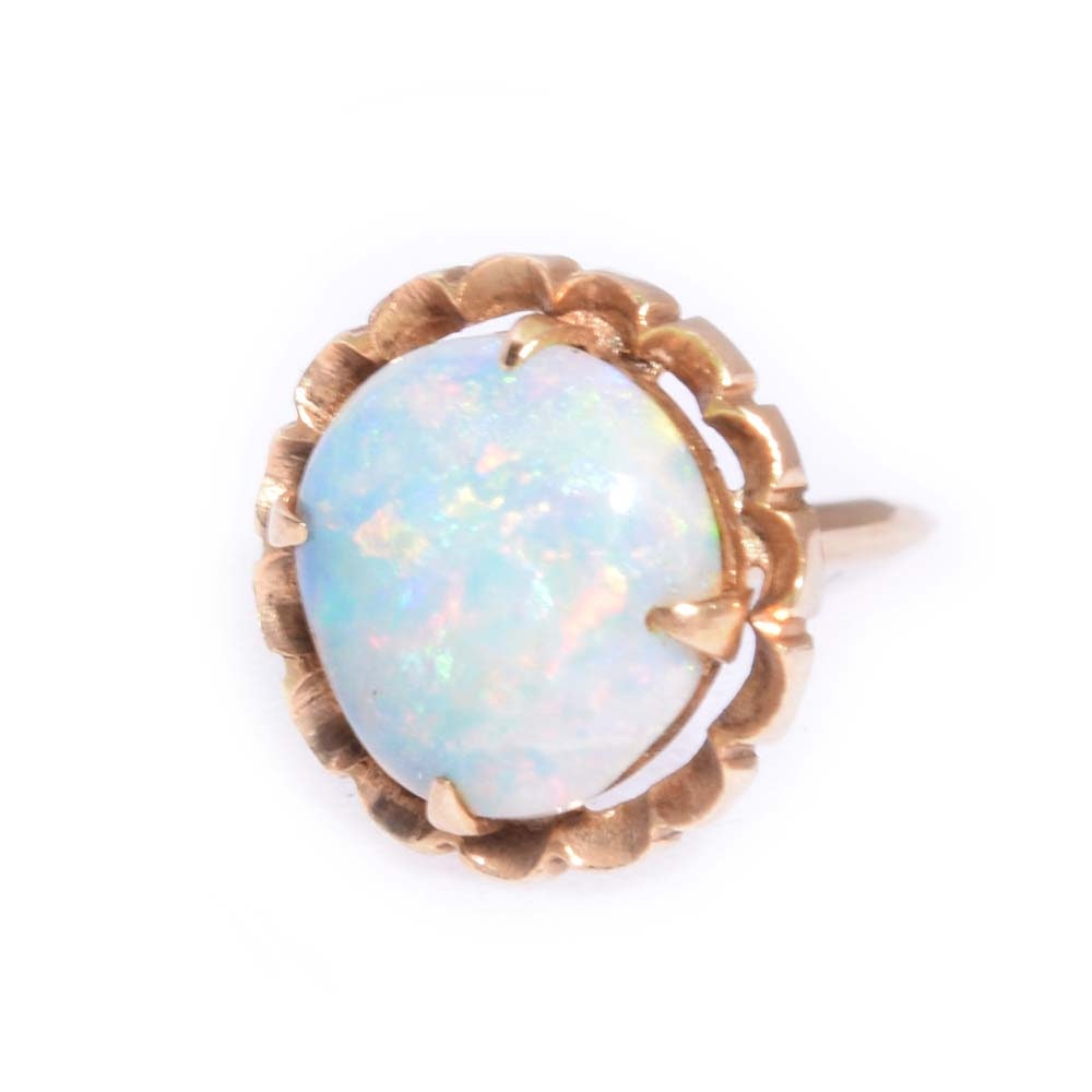 14K Yellow Gold and 1.00 CT Opal Tie Tac