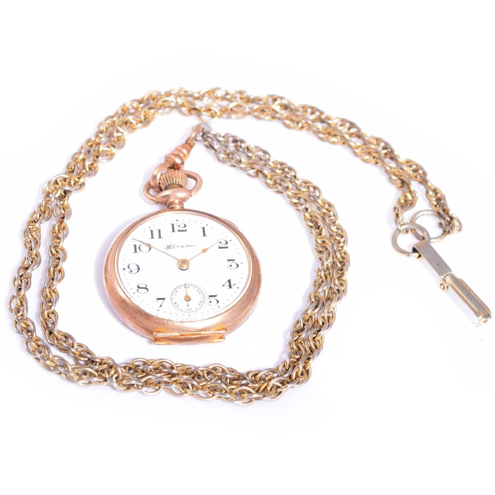 Gold-Filled Hampden Open Face Pocket Watch with Fob