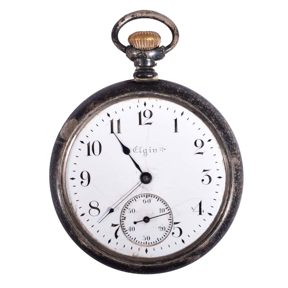 Sterling Silver Elgin Open Face Pocket Watch