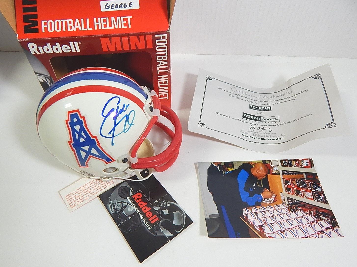 Tri-Star Eddie George Signed Mini Helmet with Photo of Signing