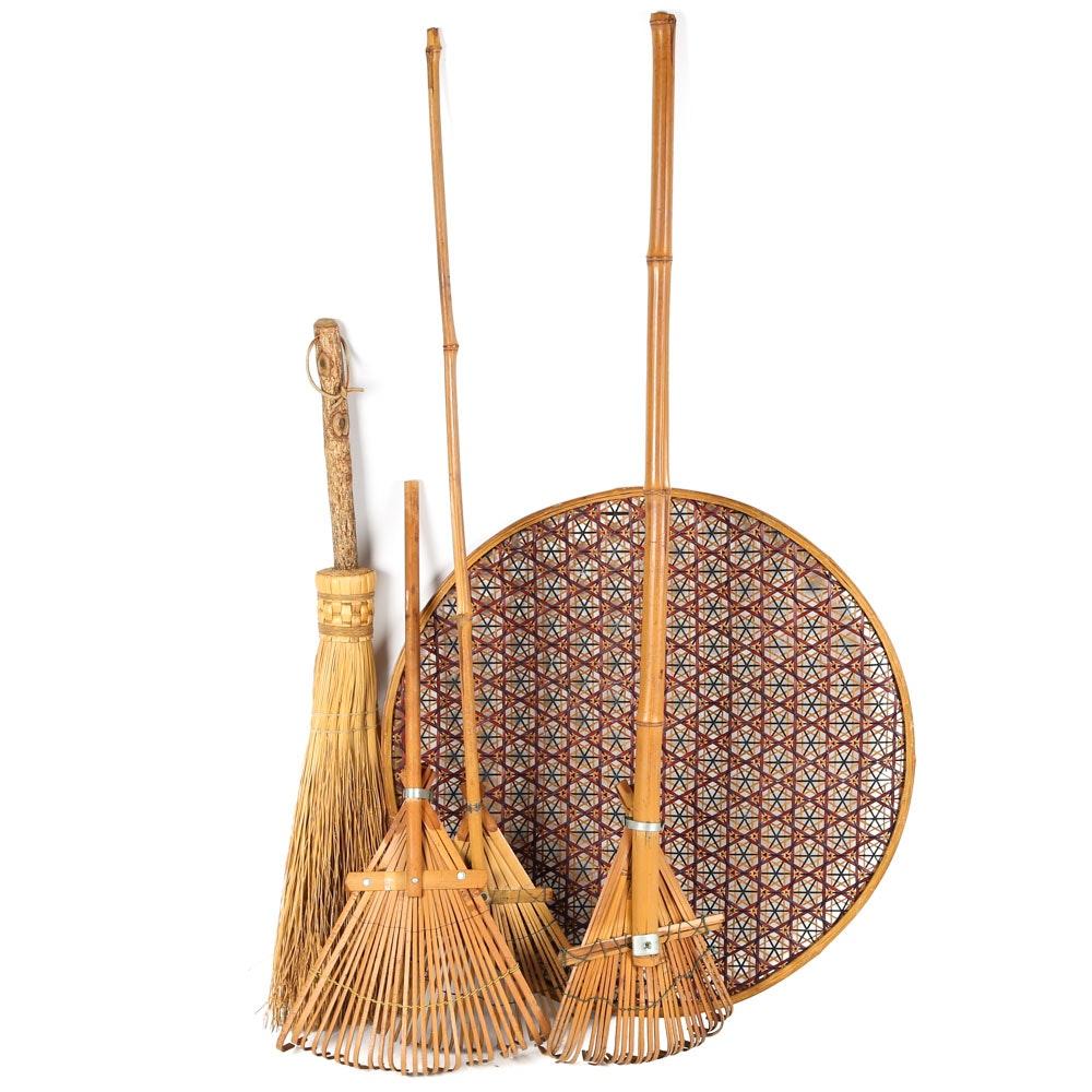 Bamboo-Handled Rakes, Hearth Broom and Woven Wall Basket