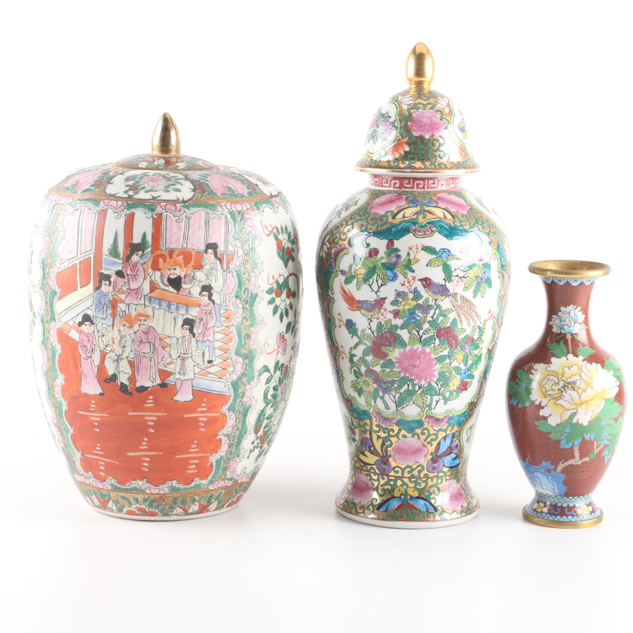 Chinese Cloisonne Vase with Ceramic Jars