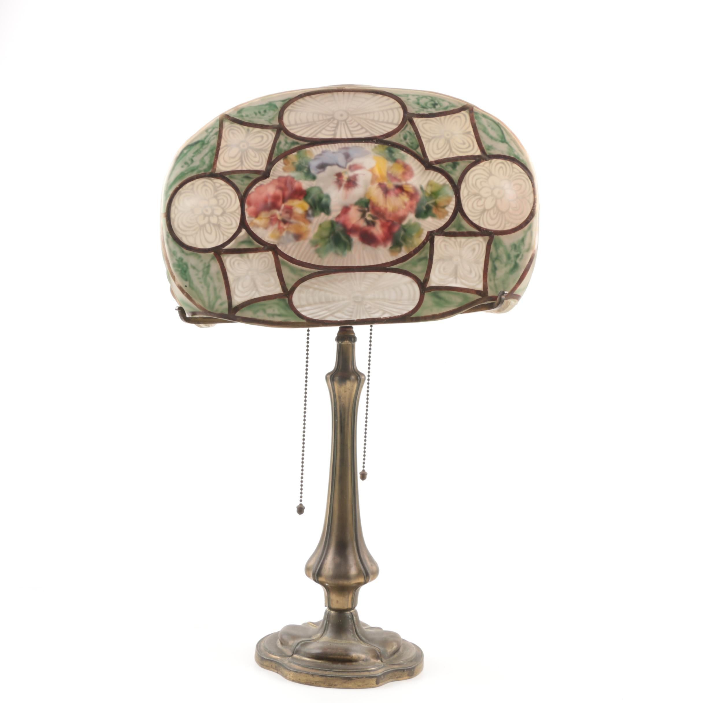 Pairpoint Puffy Table Lamp with Reverse-Painted  Painted Floral Shade