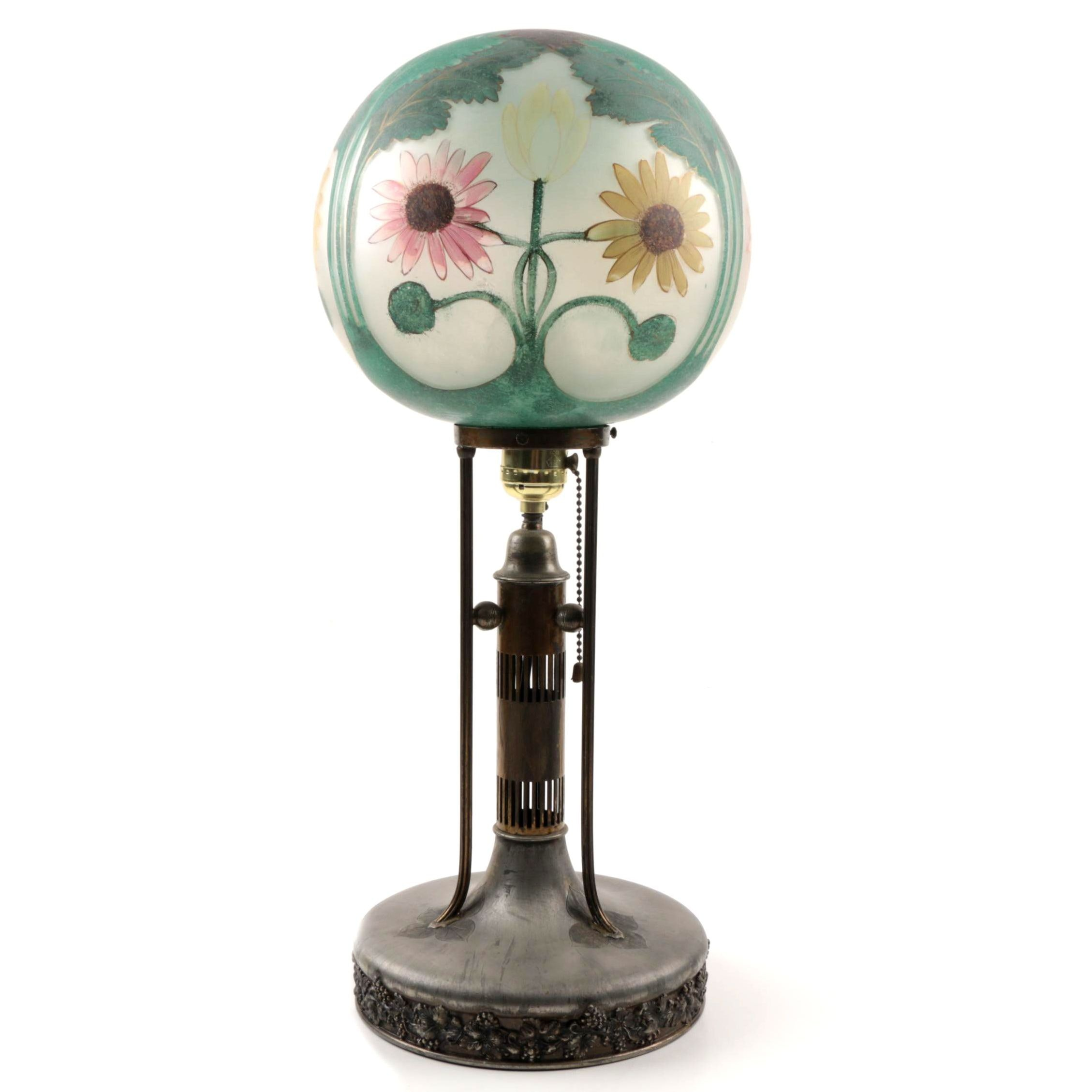 Pairpoint Table Lamp with Reverse-Painted Glass Globe