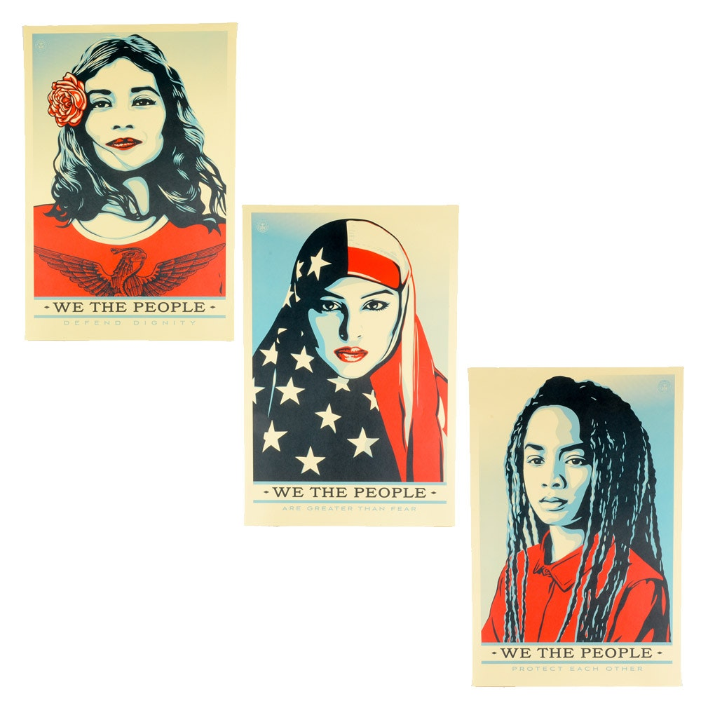 "Collection of Three Shepard Fariey Offset Prints ""We the People"""