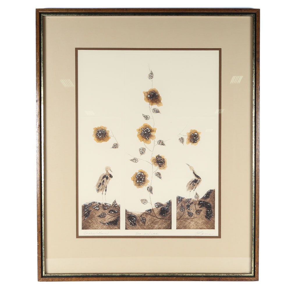 "Signed Vintage Limited Edition Etching ""Climbing Roses"""