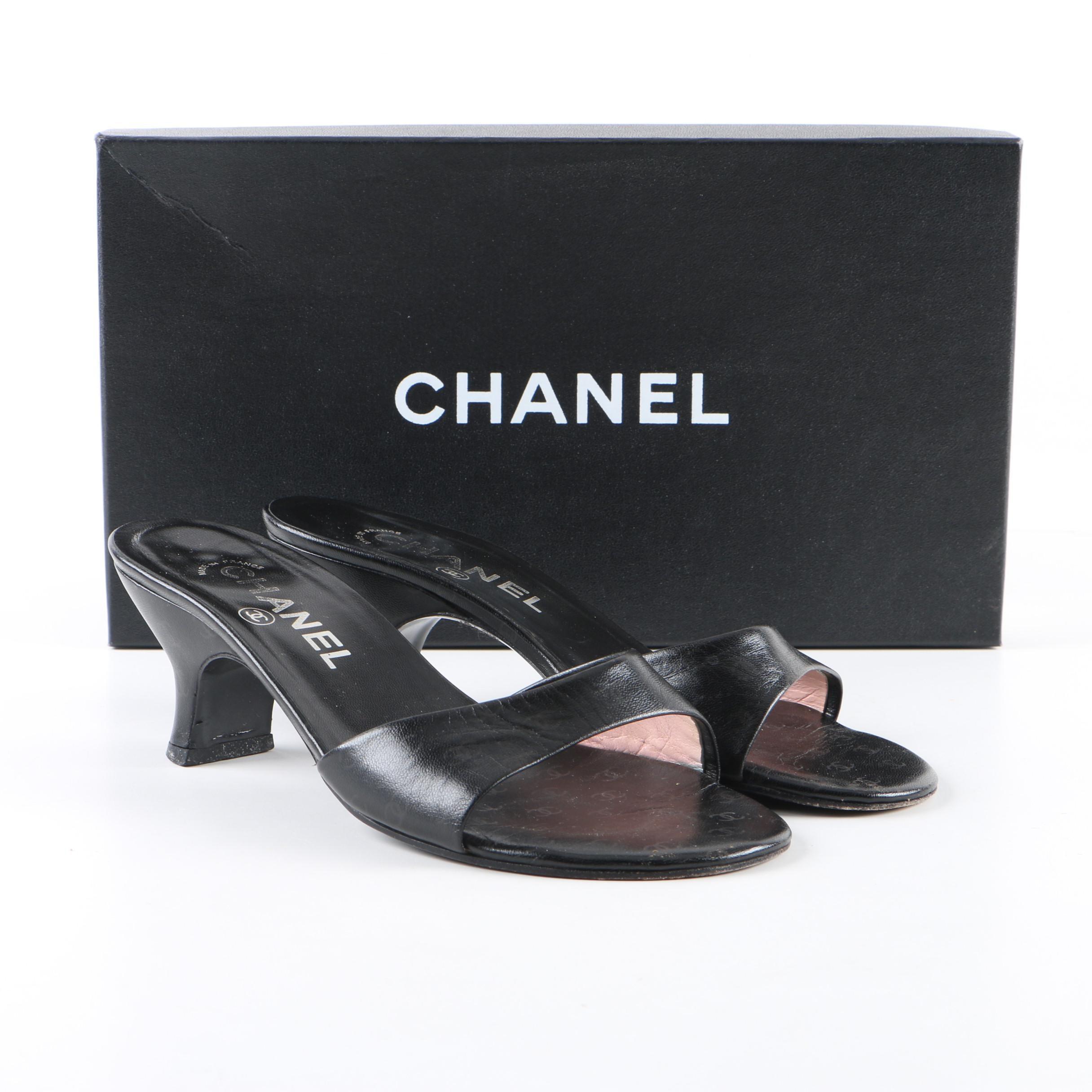Women's Chanel Black Leather High-Heeled Slide Sandals