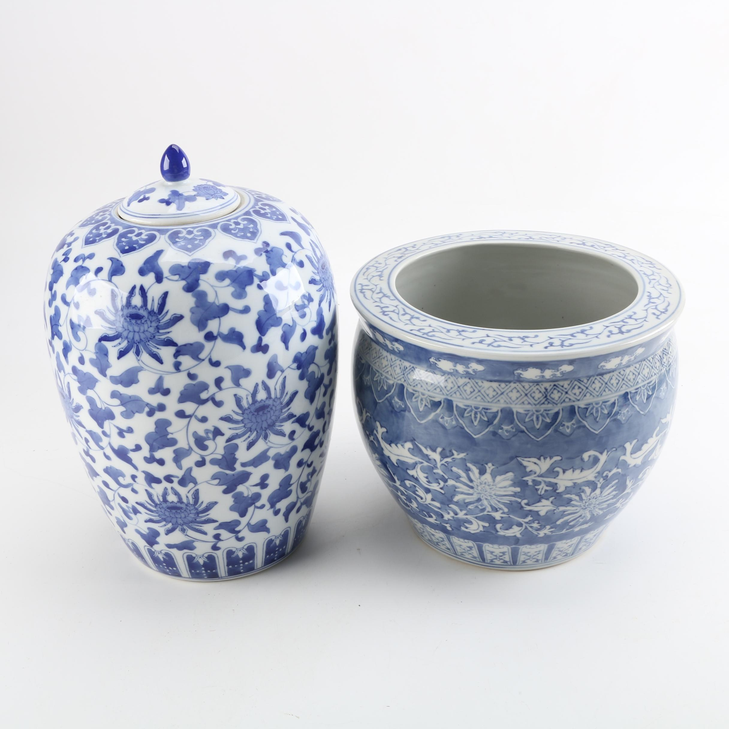 Chinese Blue and White Ceramic Lidded Urn and Planter