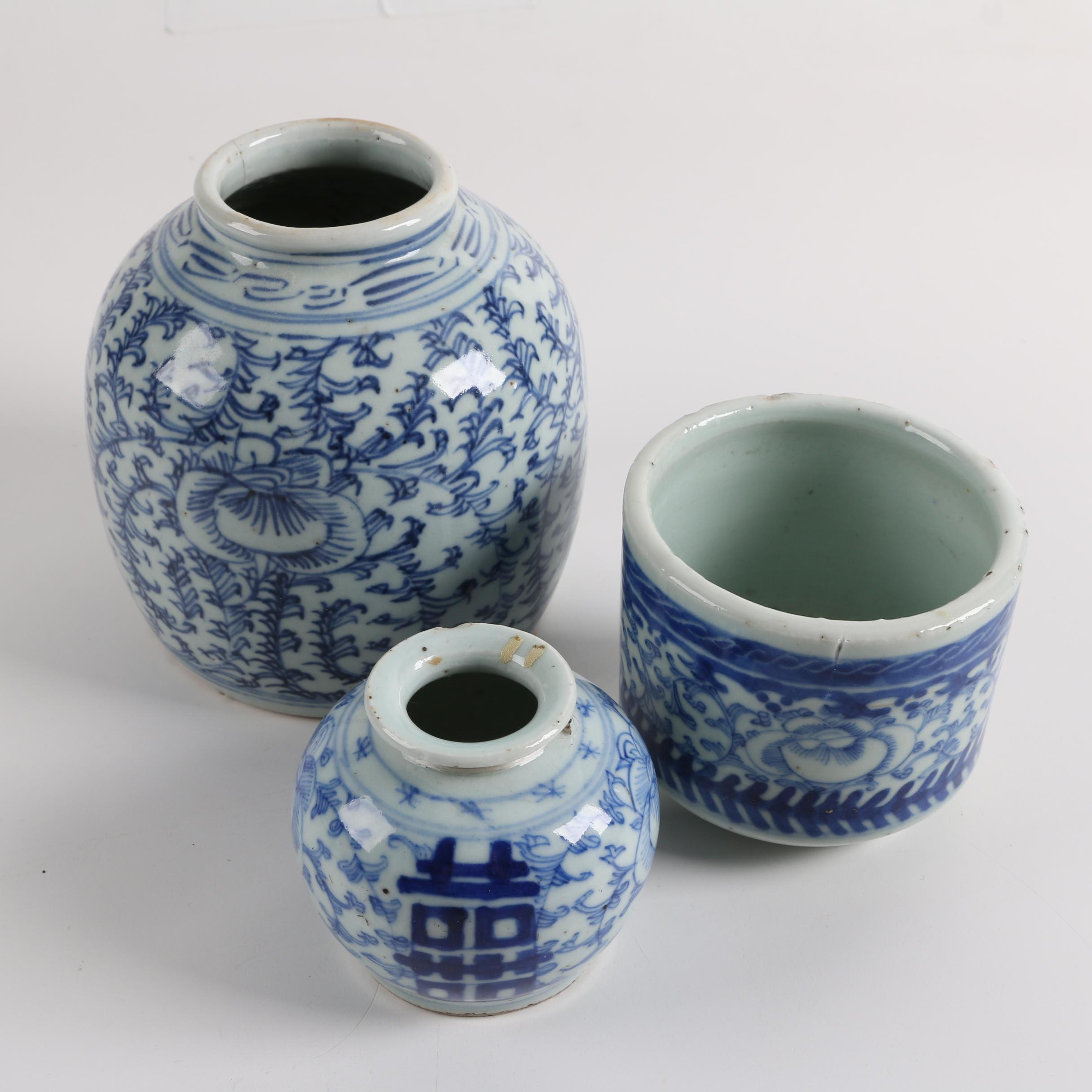 Three Vintage Chinese Blue and White Ceramic Vessels