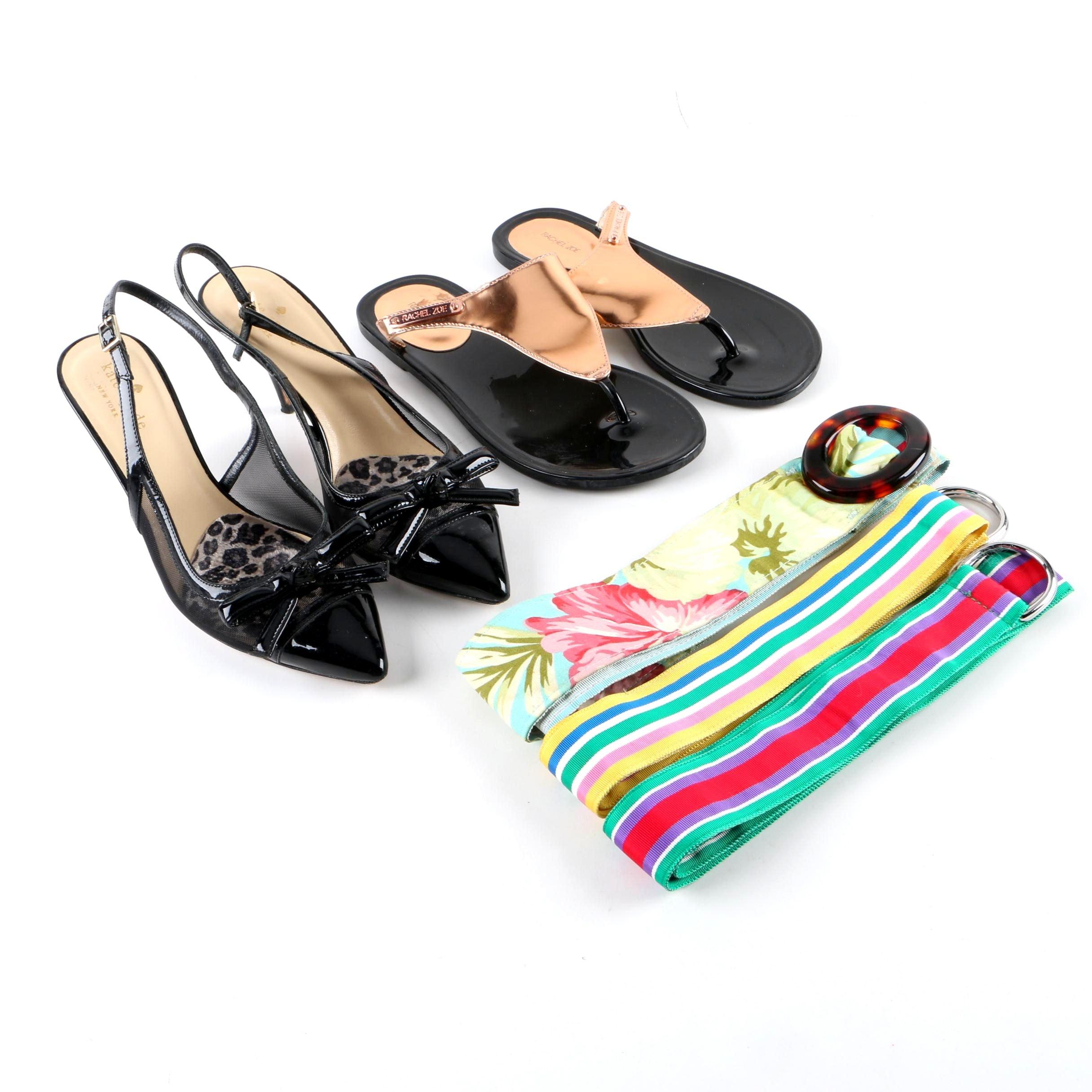 Kate Spade New York Slingback Heels, Rachel Zoe Thong Sandals and Assorted Belts