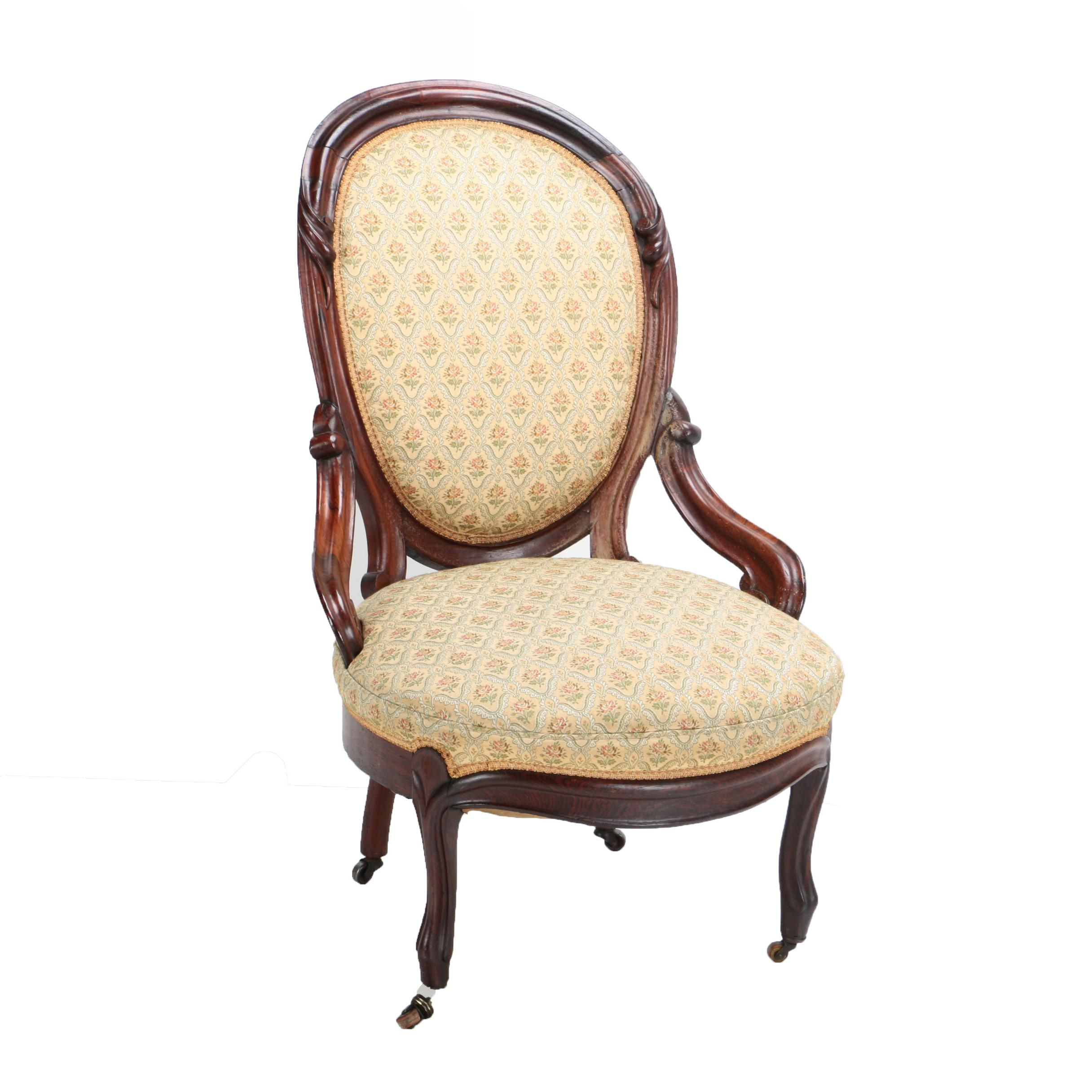 Vintage Queen Anne Style Upholstered Oval Back Side Chair