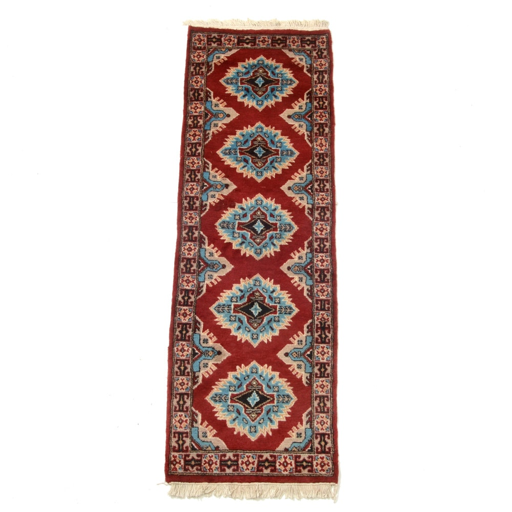 Hand-Knotted Pakistani Bokhara Carpet Runner