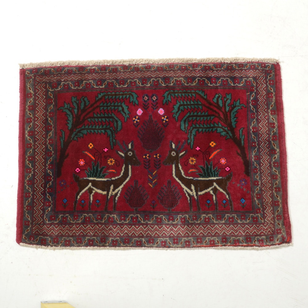 Vintage Hand-Knotted Persian Qum Hunting Style Accent Rug