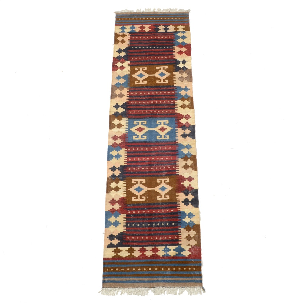 Handwoven Indo-Turkish Kilim Runner