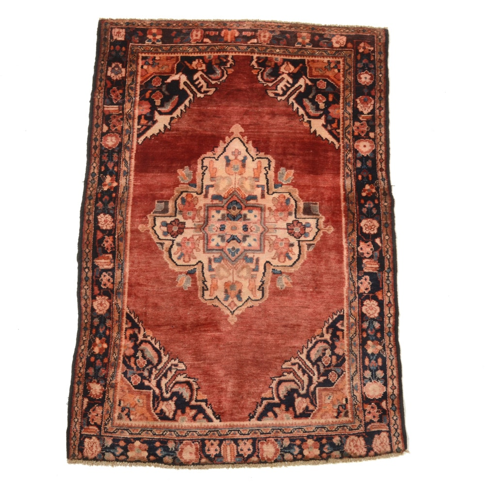 Vintage Hand-Knotted Persian Mahal Area Rug