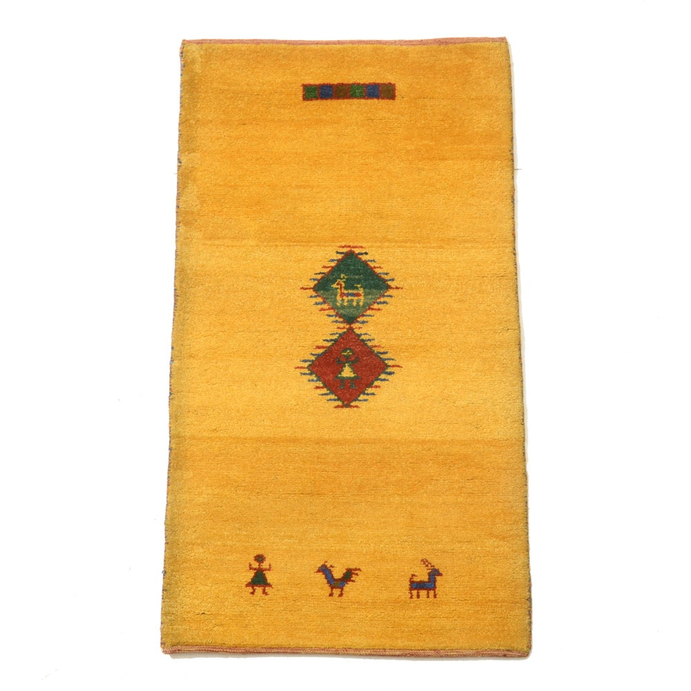 Hand-Knotted Indian Gabbeh Rug
