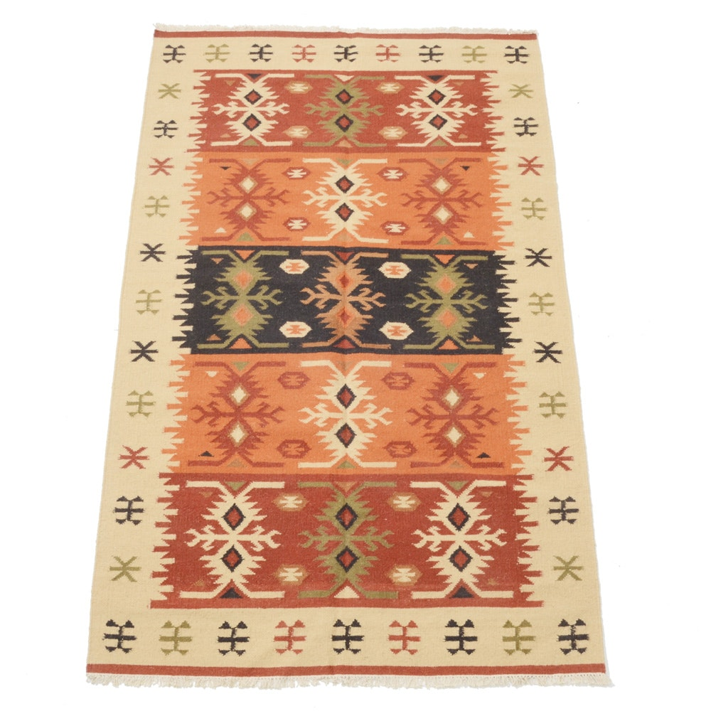 Hand-Woven Azerbaijan Kilim Area Rug