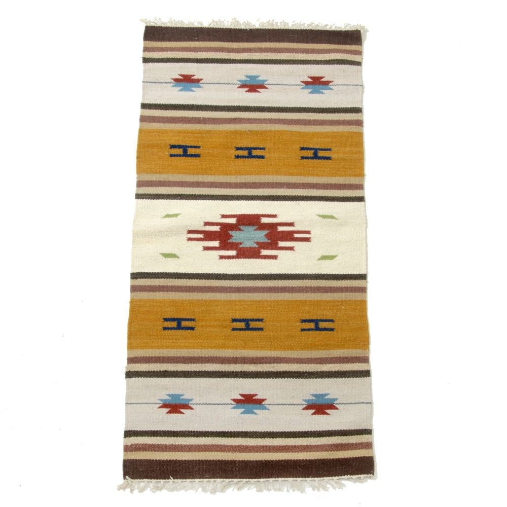 Handwoven Indian Kilim Accent Rug