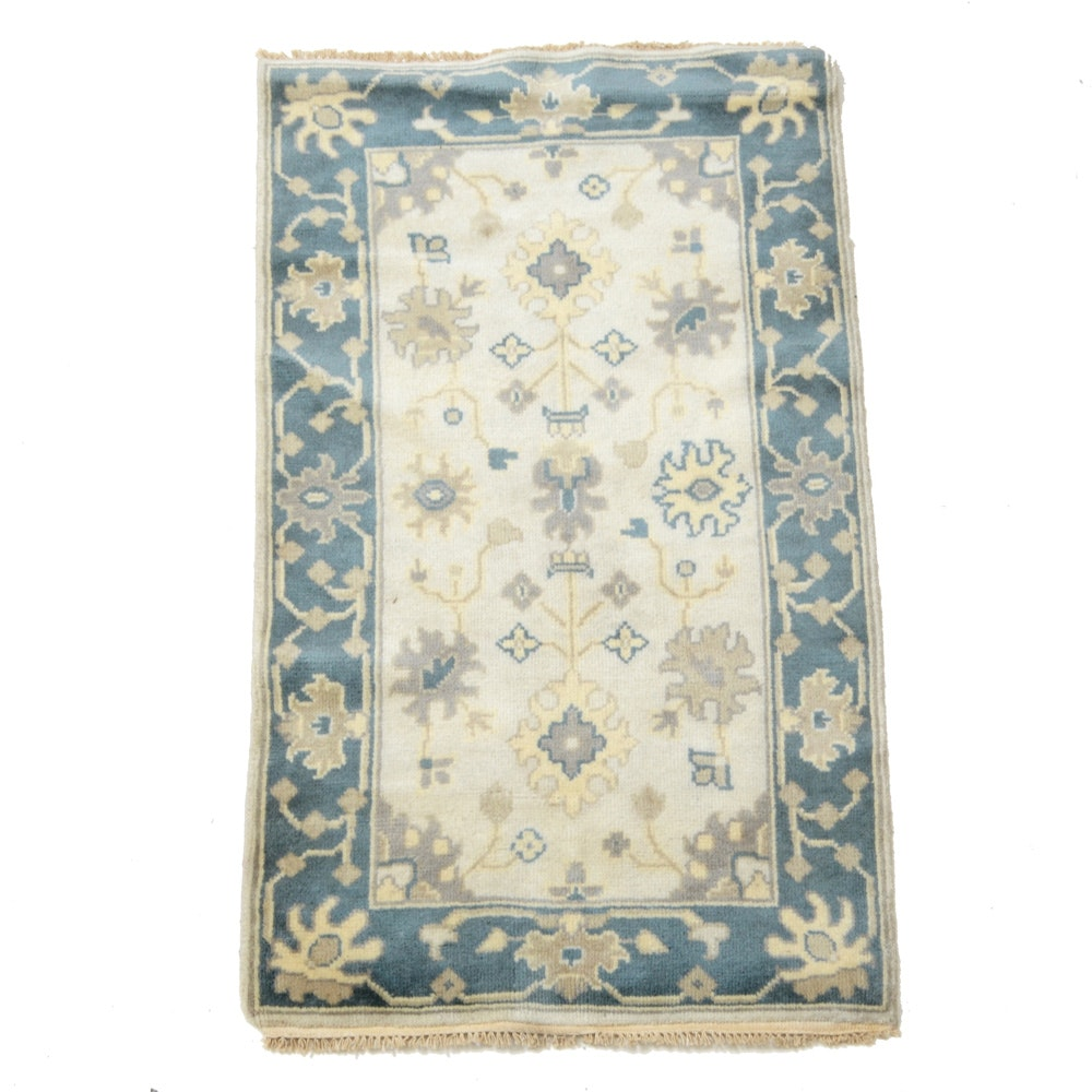Hand-Knotted Oushak Chobi Accent Rug