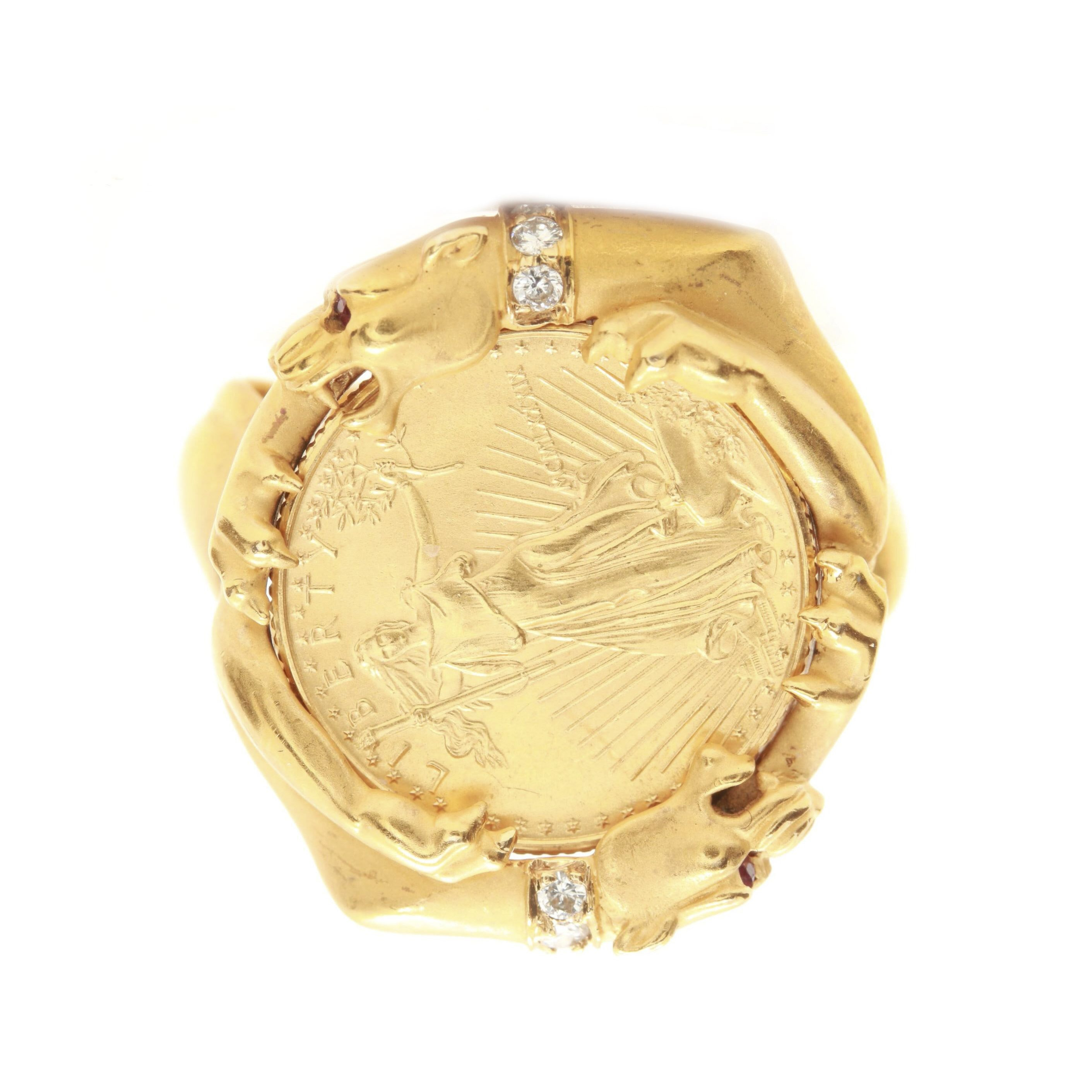18K Yellow Gold Diamond, Ruby and 22K $5 Gold Eagle Coin Ring