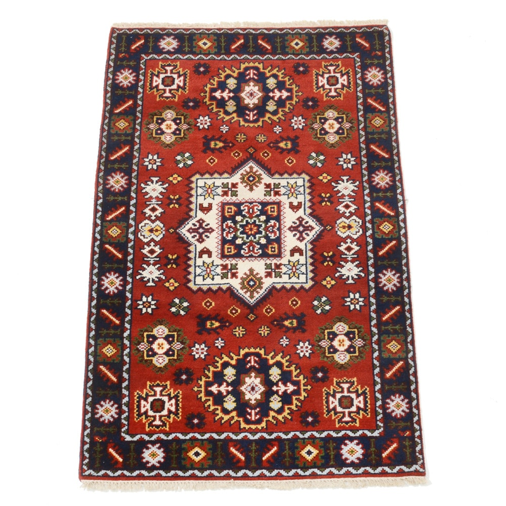 Hand-Knotted Kazak Area Rug