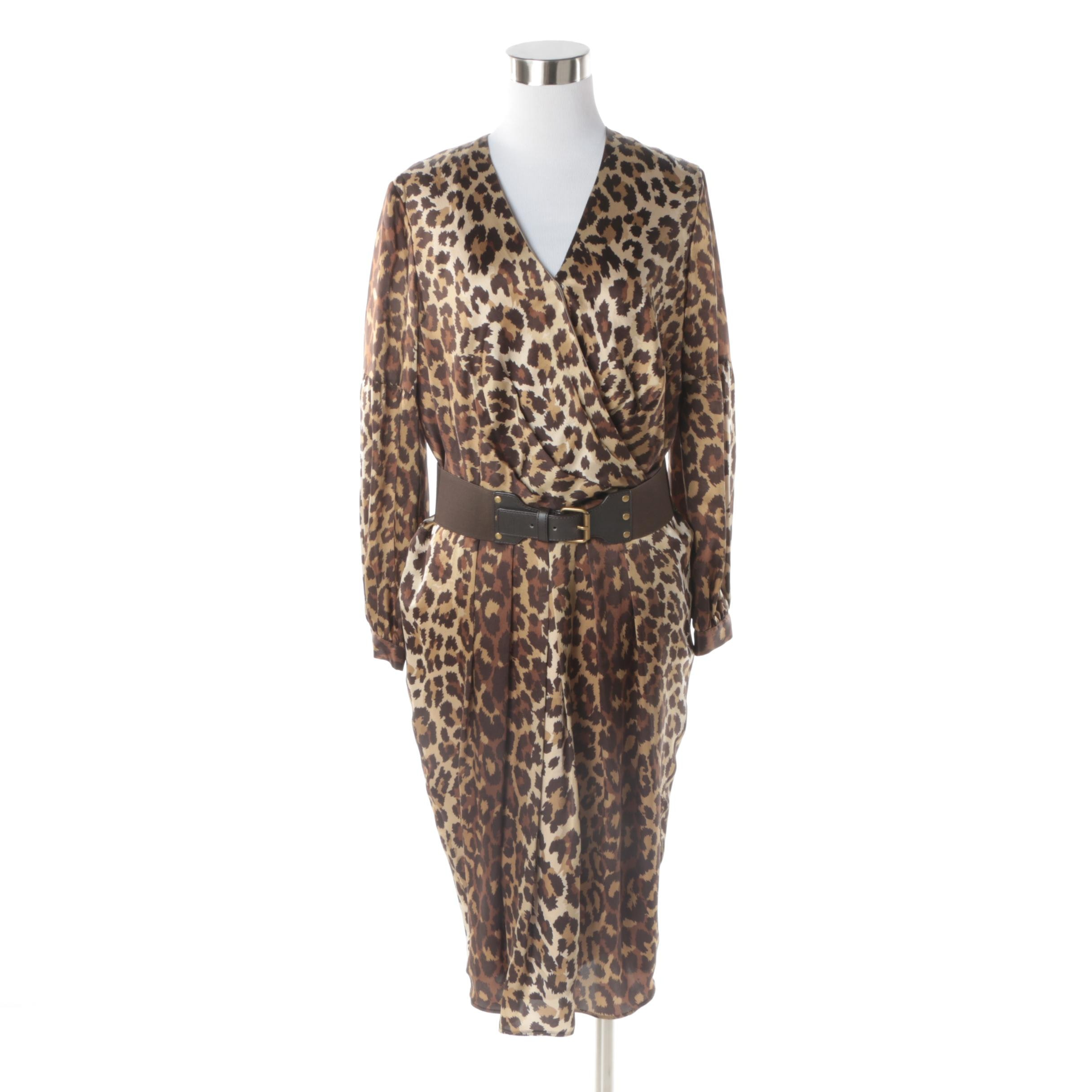 Women's Leopard Print Silk Wrap Dress with Lafayette 148 New York Belt