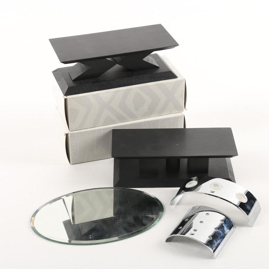 Metal Wood And Mirrored Display Stands Including Swarovski EBTH Impressive Swarovski Display Stands