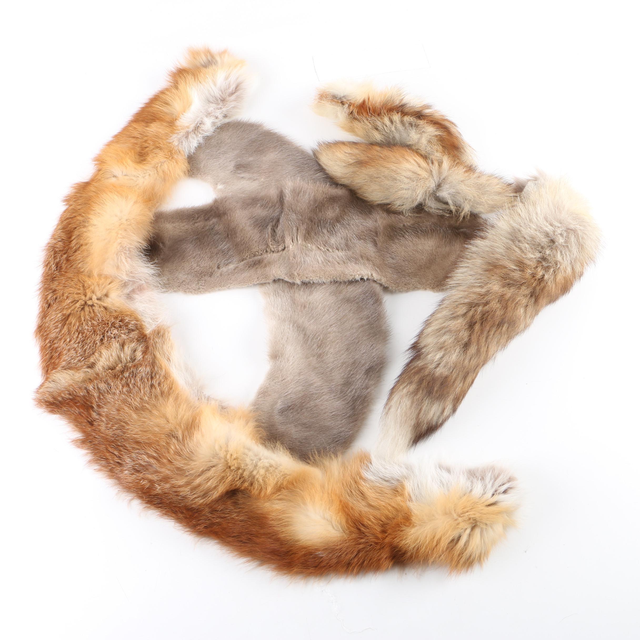 Mink Fur and Fox Fur Pelt Remnants