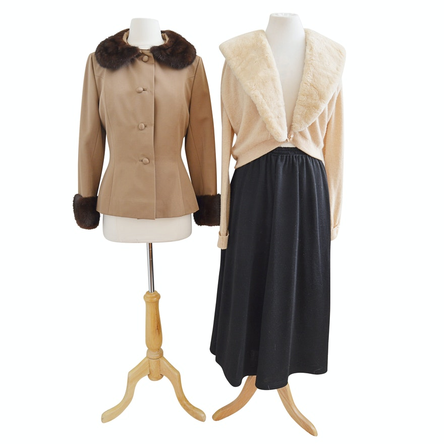 Women's Vintage Separates with Bullock's Suit Trimmed in Mink & Cashmere Sweater