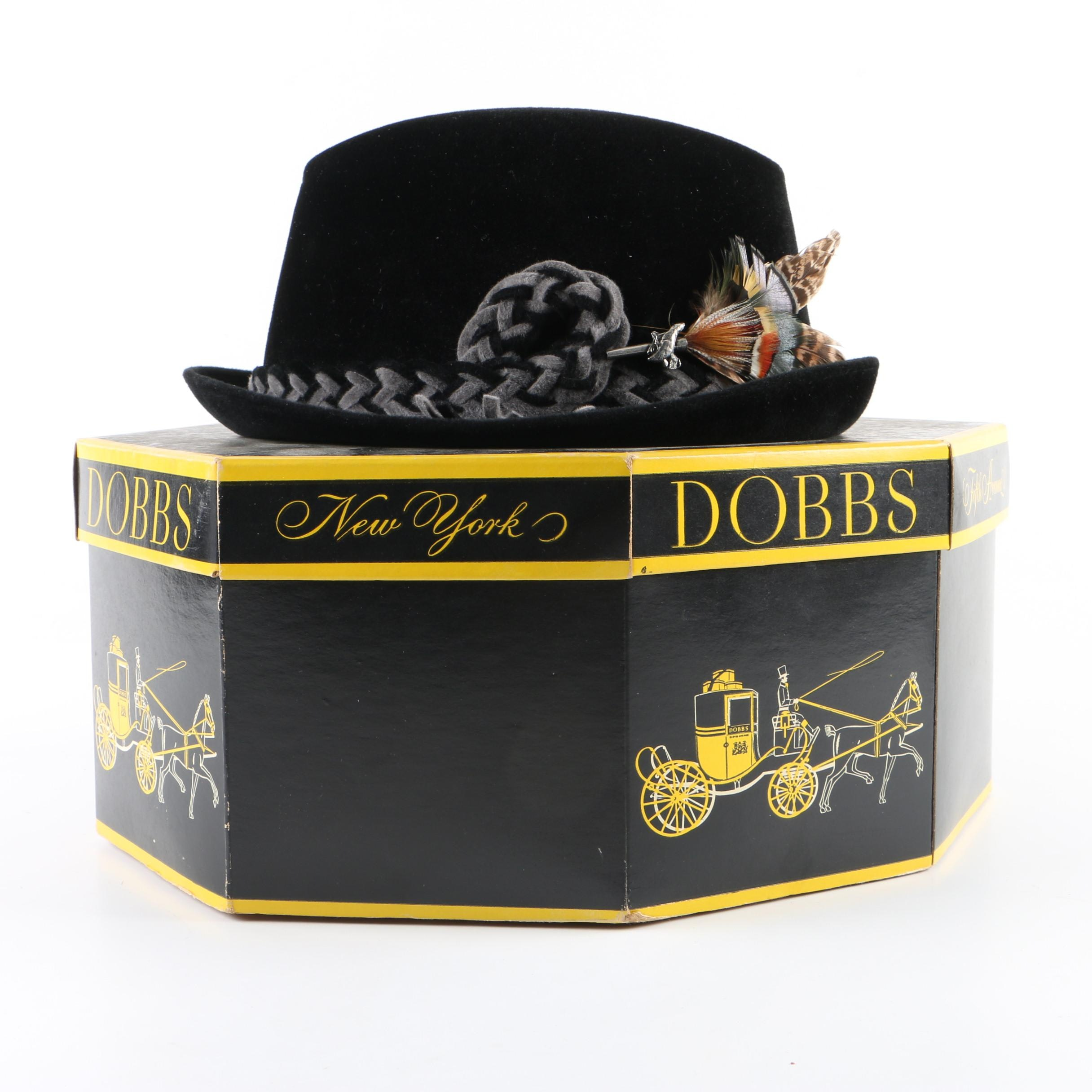 Men's Vintage Dobbs Black Felt Fedora with Original Box