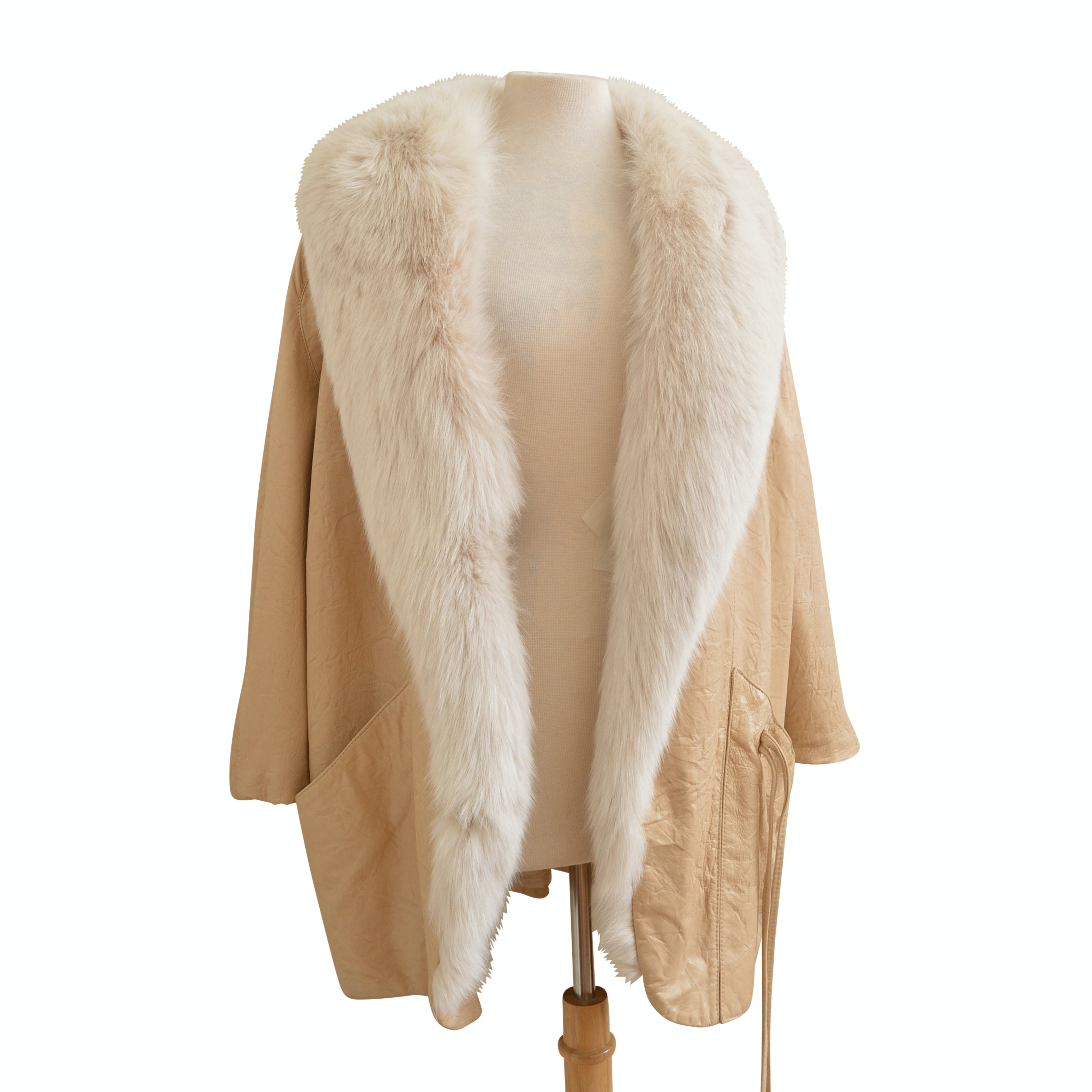 Vintage Marvin Richards Beige Leather Coat with Fox Fur Collar