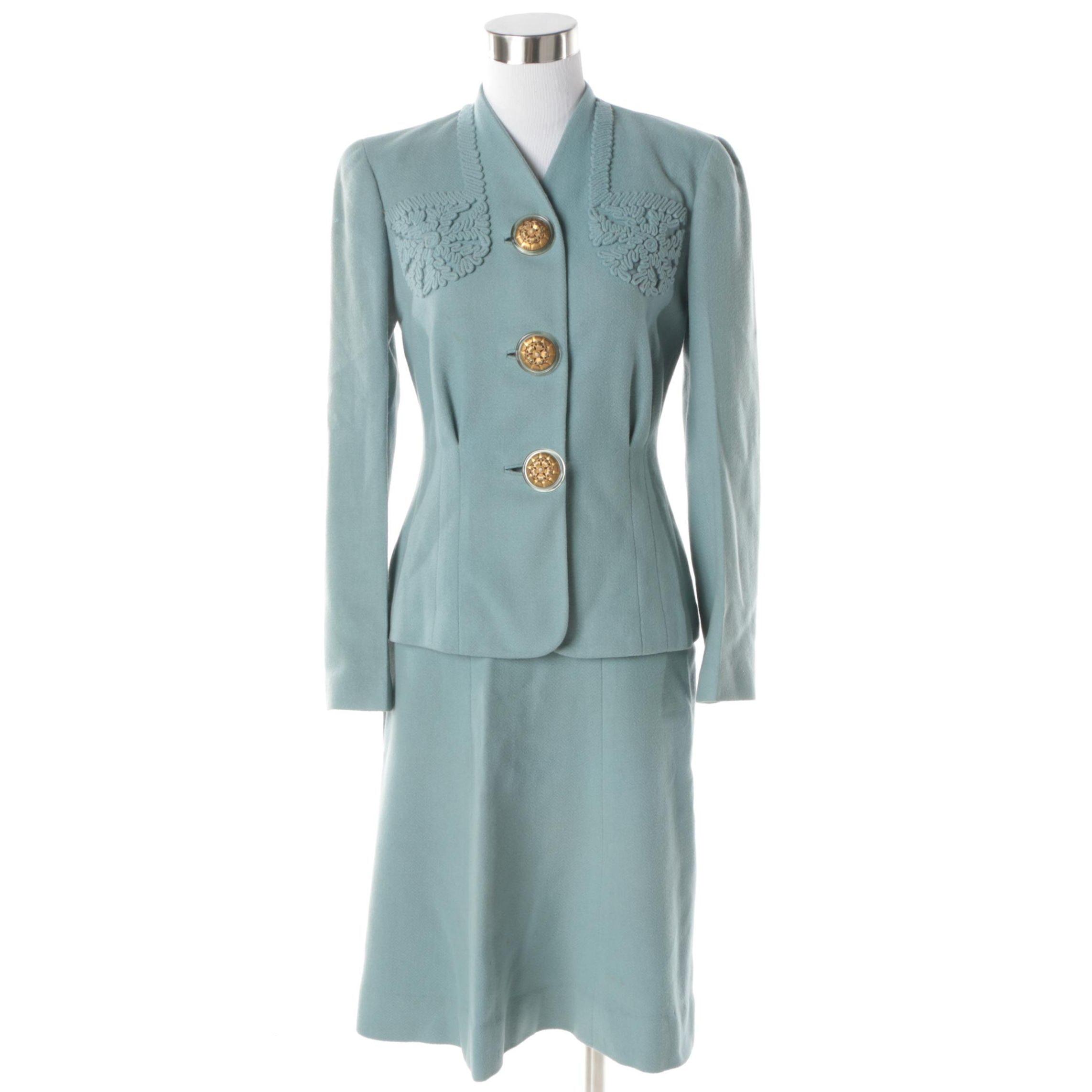 Women's Circa 1940s Vintage Light Blue Wool Skirt Suit