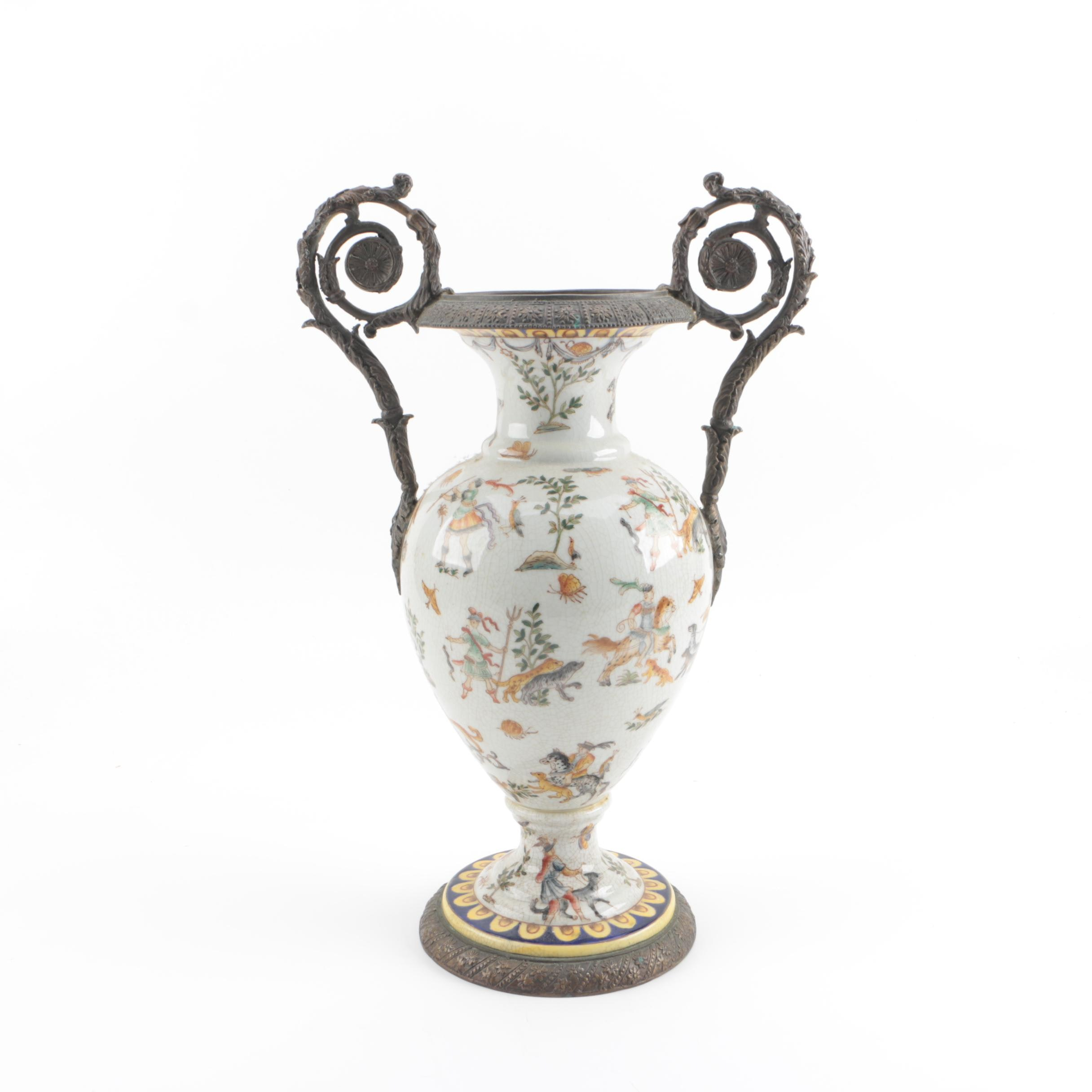 Contemporary Chinese Ceramic Urn with Metal Mounts