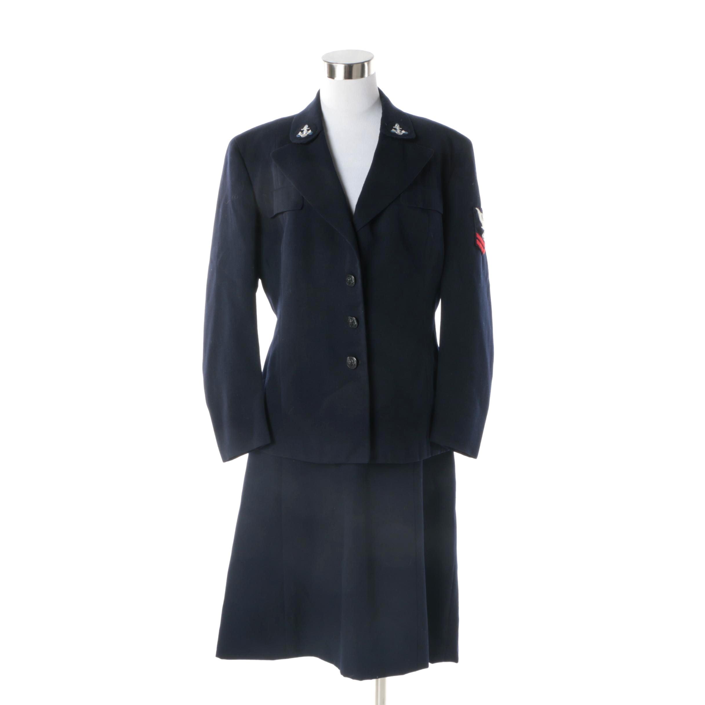Women's 1940s Vintage WWII Era US Navy Wool Blend Skirt Suit
